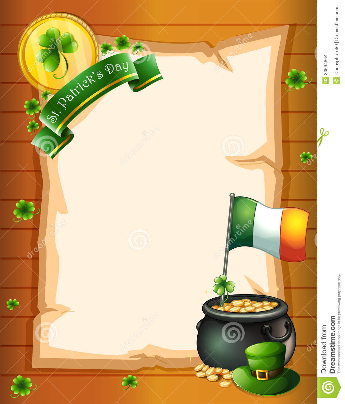 An Empty Paper Template For St Patrick S Day Stock
