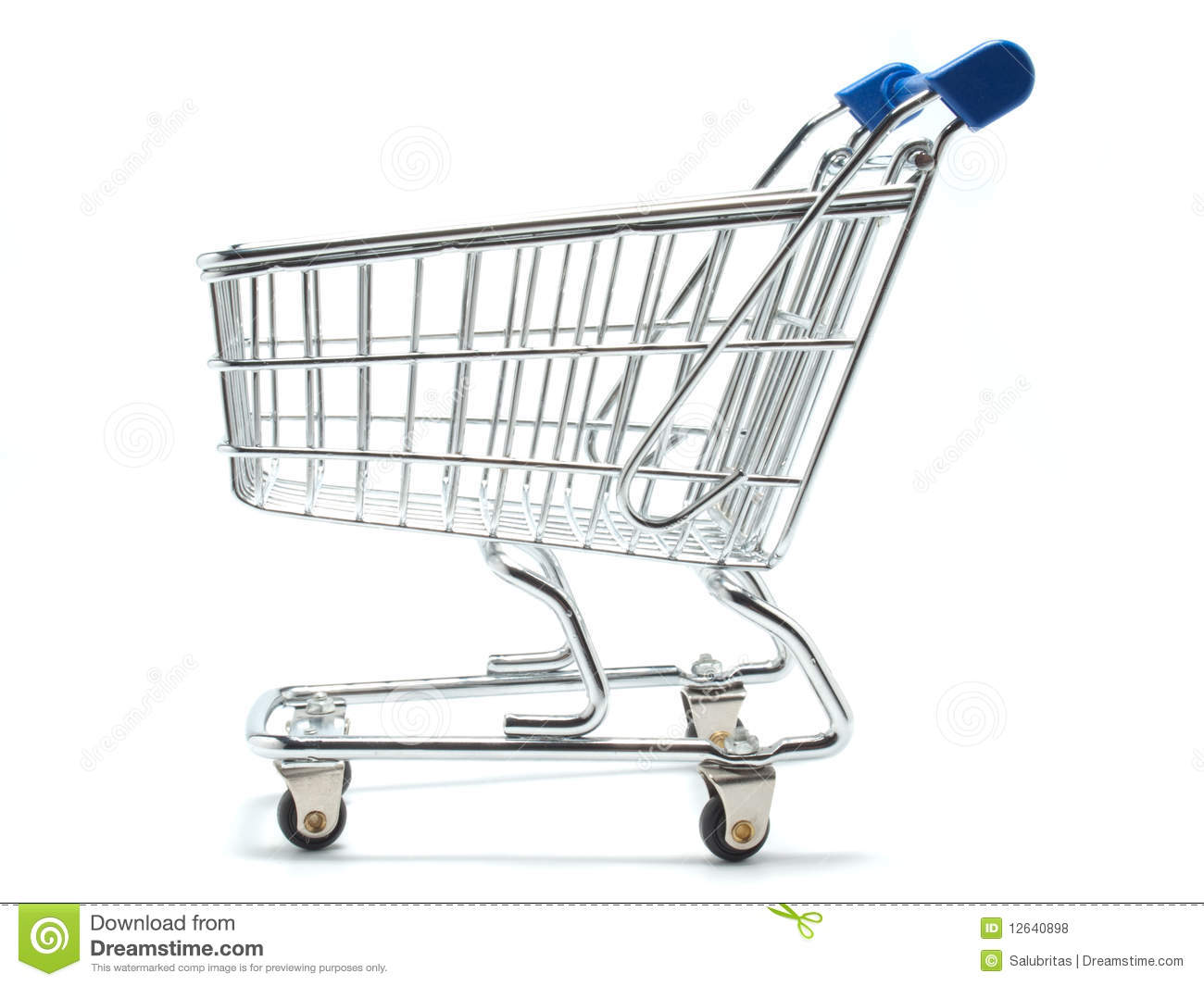 Empty Shopping Cart Side View Stock Photo