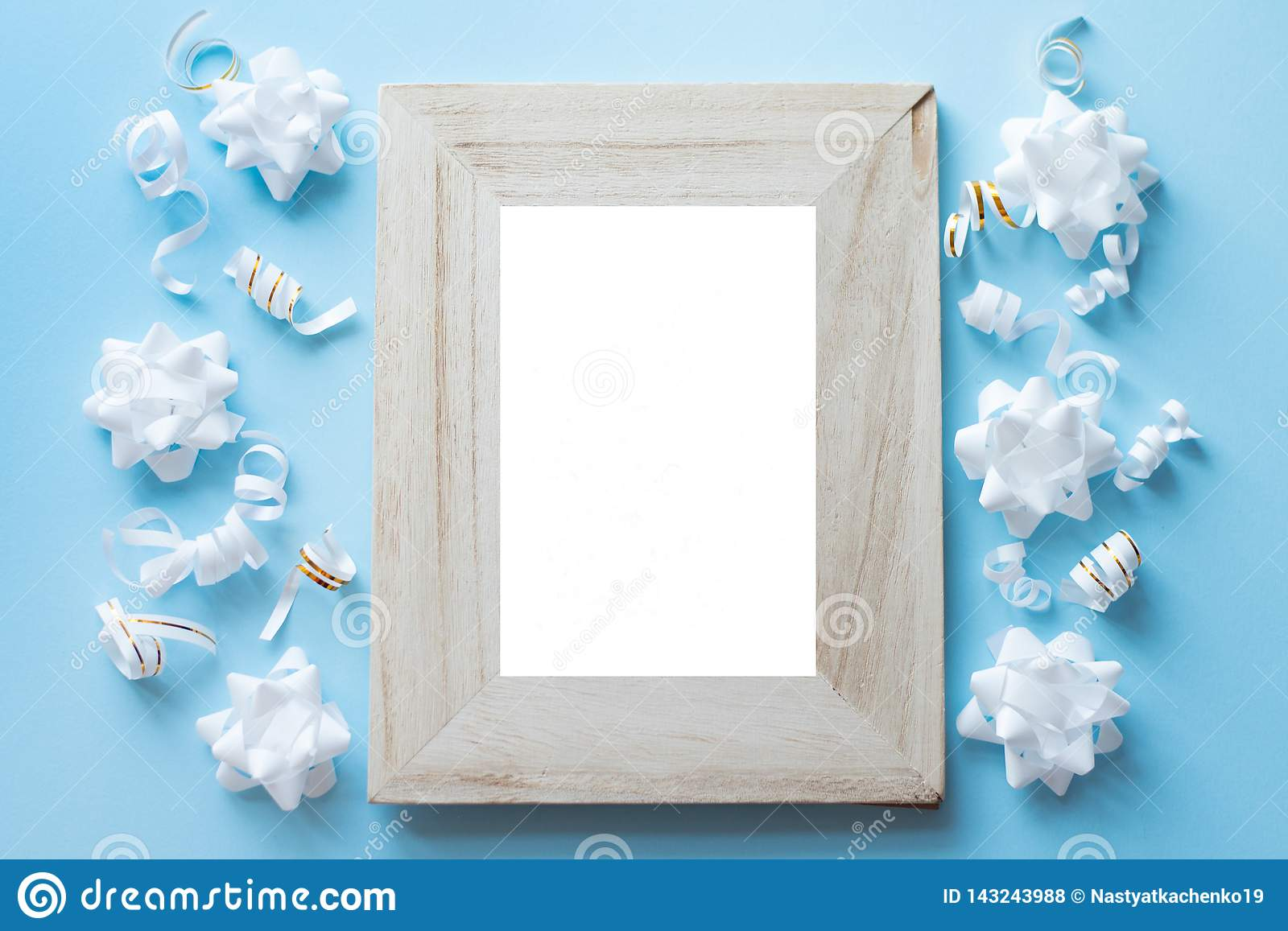 Empty Wood Photo Frame With Birthday Party Decorations On Blue Background Stock Photo Image Of Golden Life 143243988