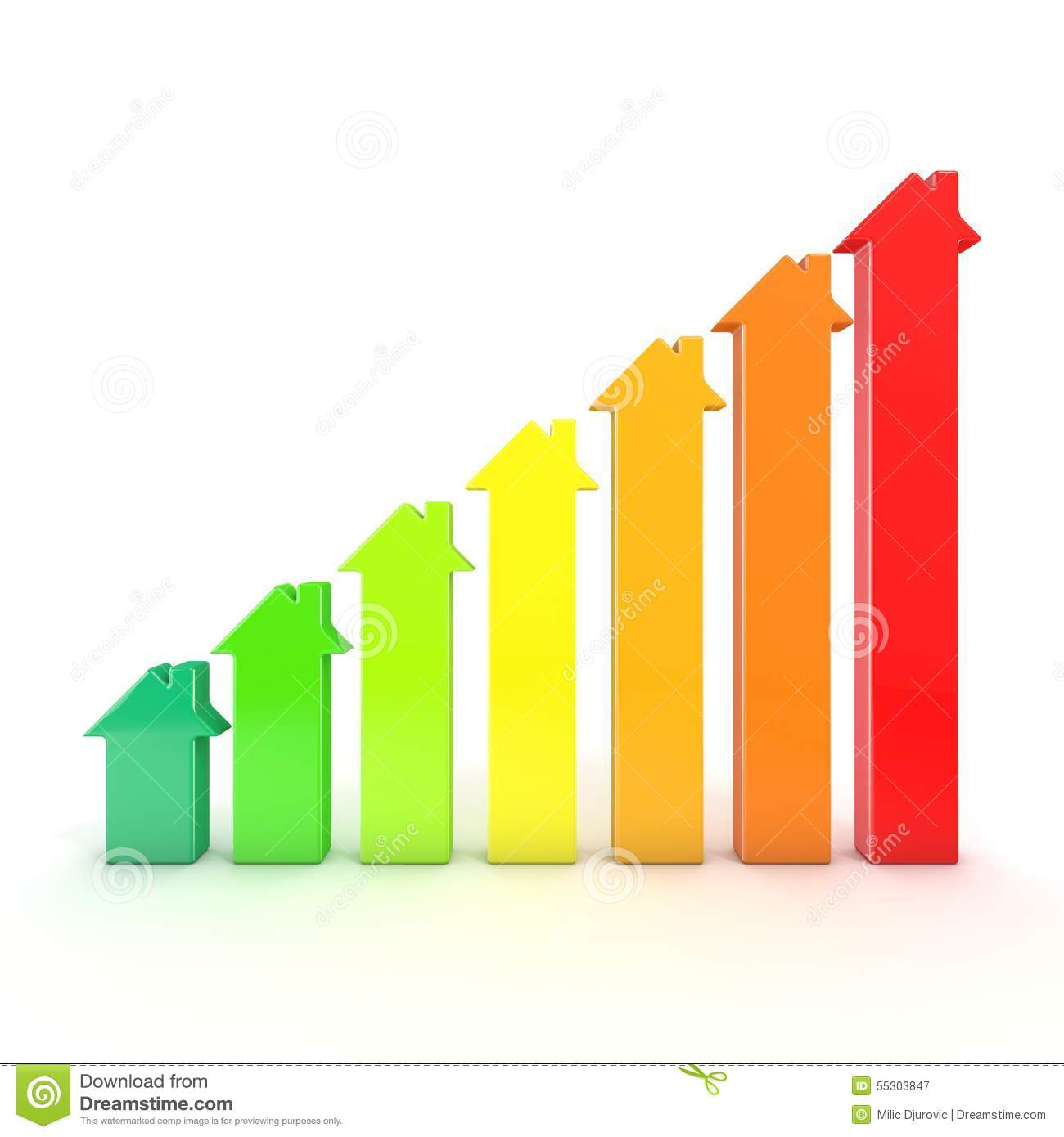 Energy Efficiency Graph Bars Represented As Houses Stock