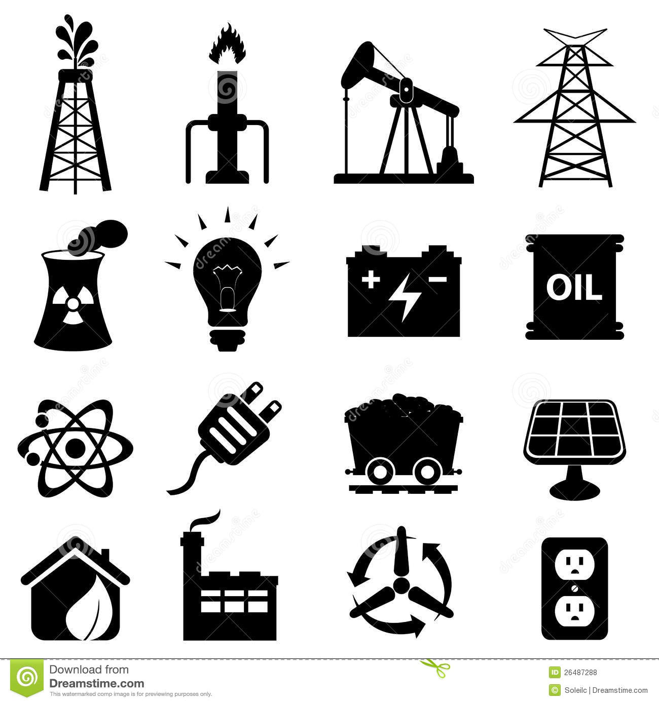 Energy Icon Set Stock Vector Image Of Coal Isolated