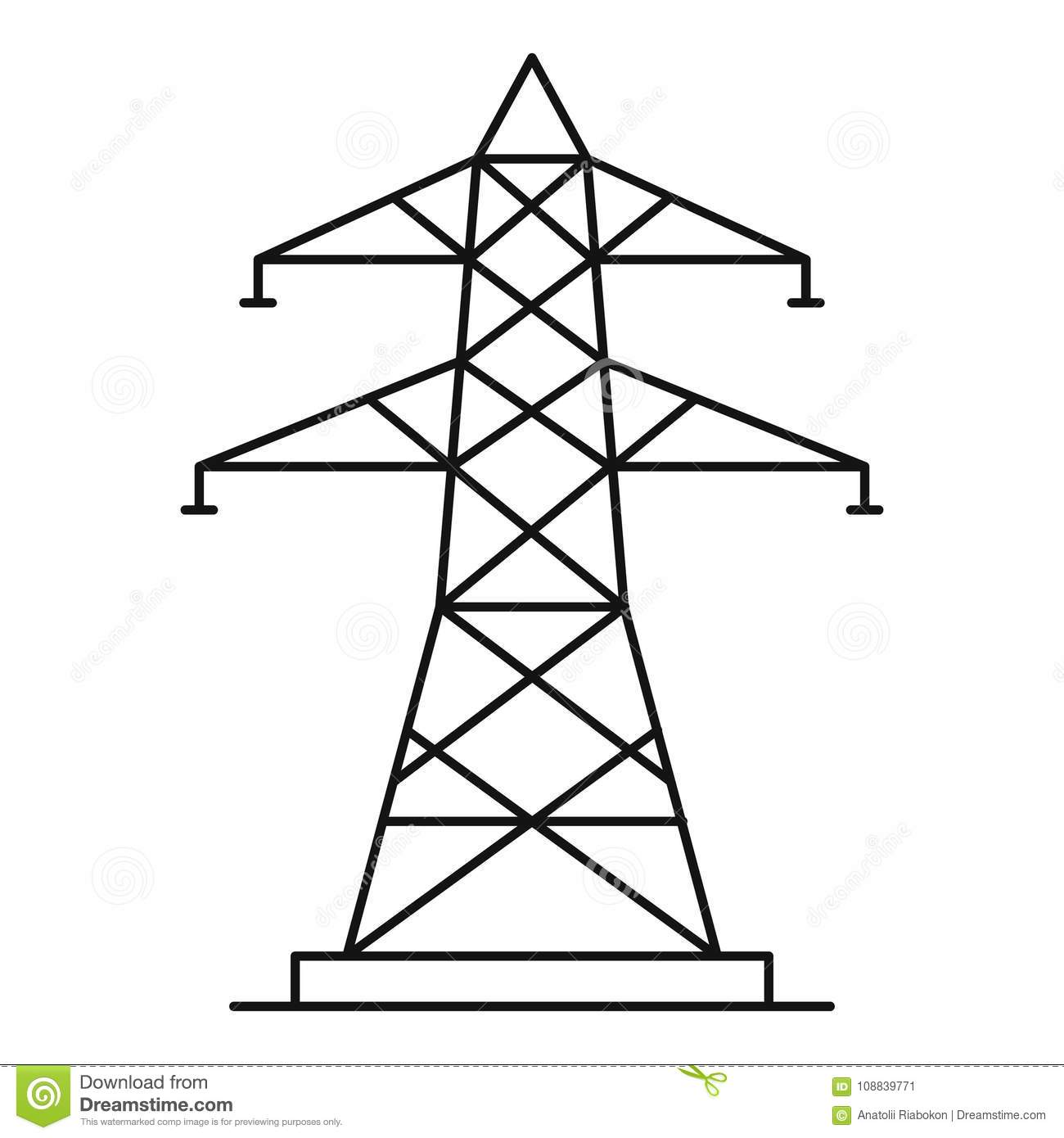 Energy Pole Icon Outline Style Stock Vector