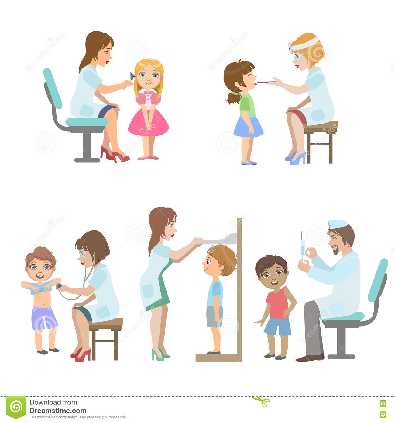 Enfants A L Examen Medical Illustration De Vecteur