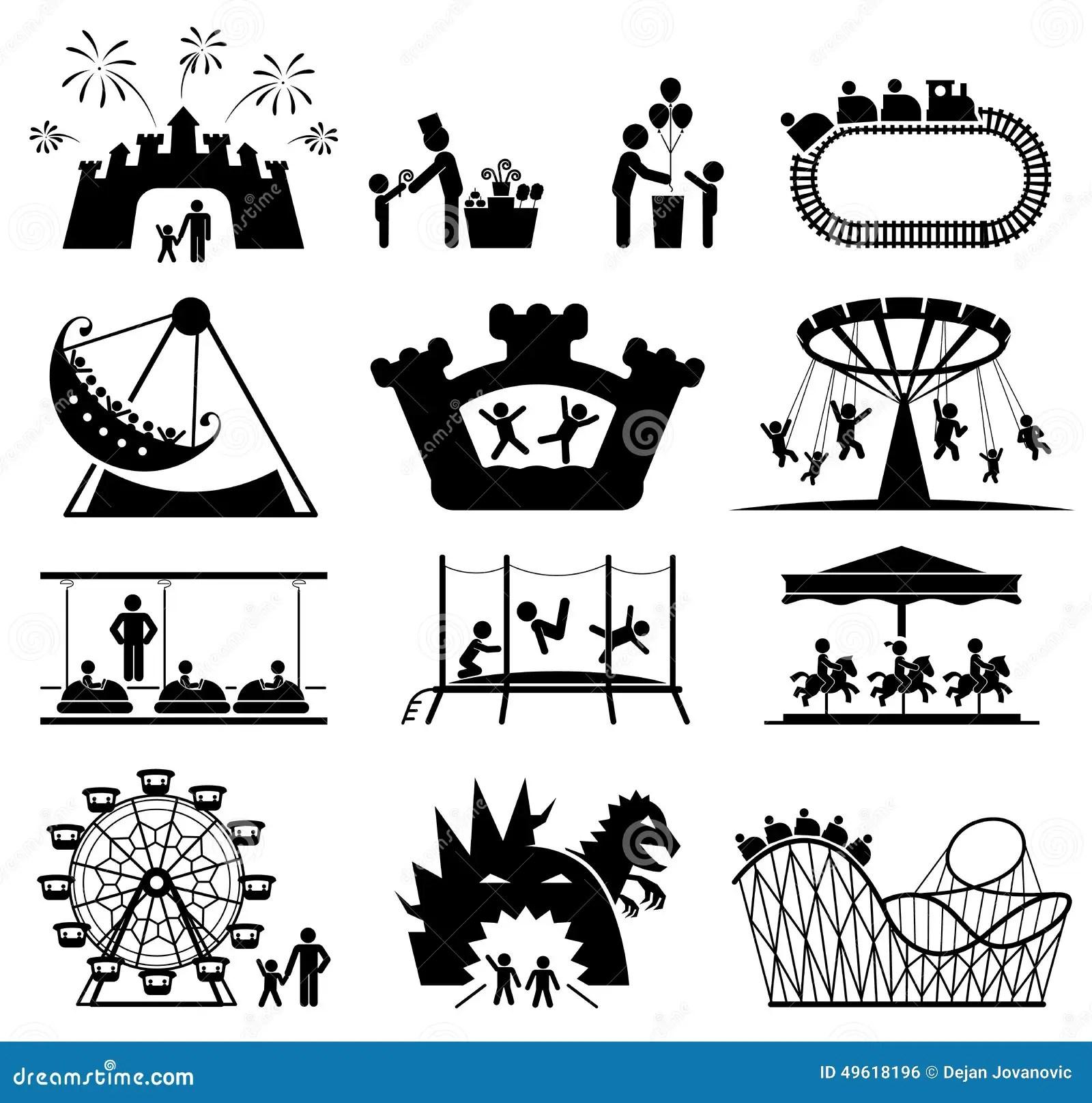 Enfants En Parc D Attractions Ensemble D Icone De