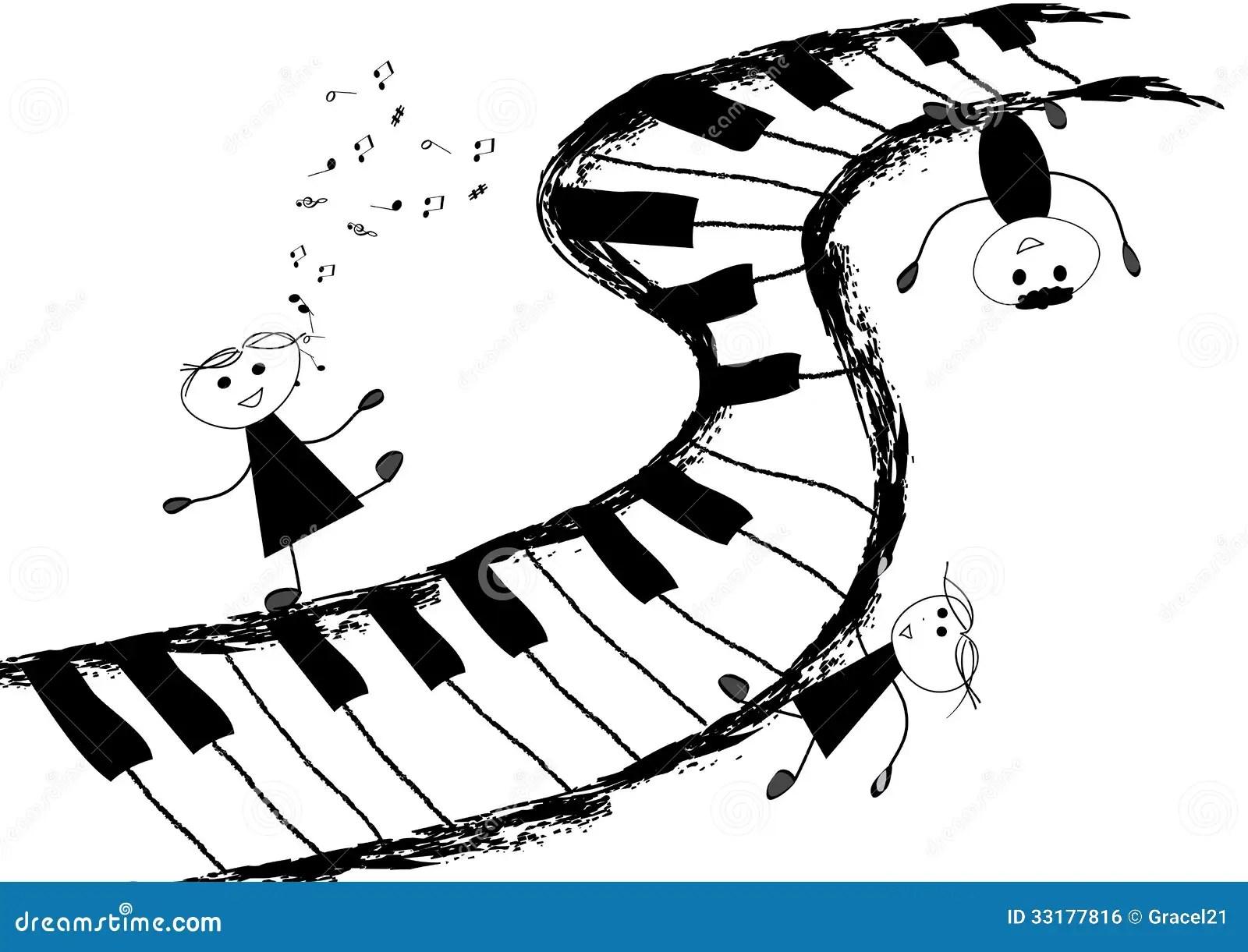 Enfants Et Clavier De Piano Illustration De Vecteur