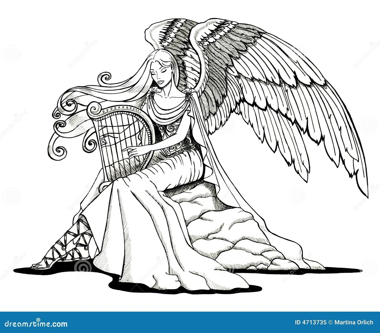 Engel Der Eine Harfe Spielt Stock Abbildung