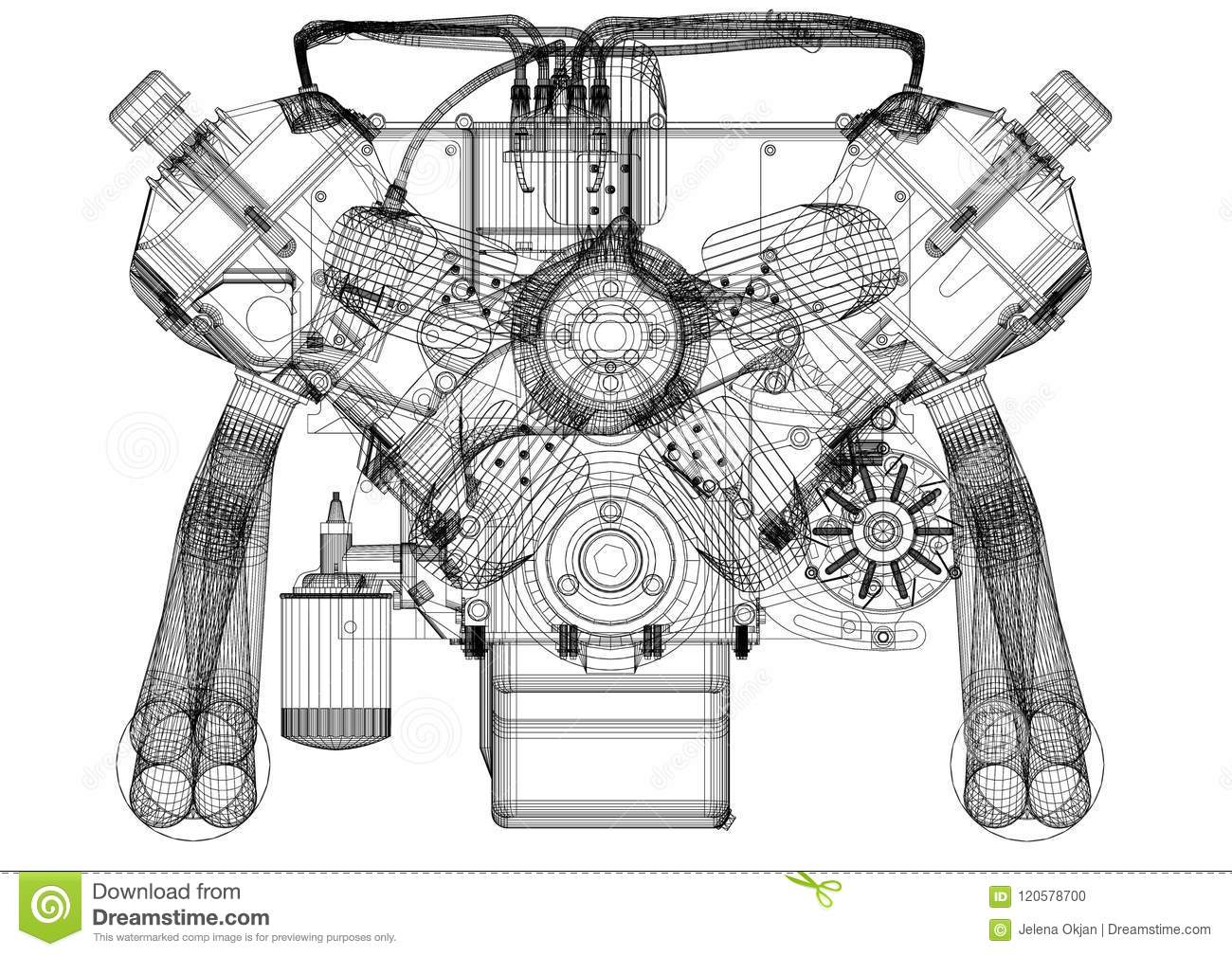 Engine Design Architect Blueprint