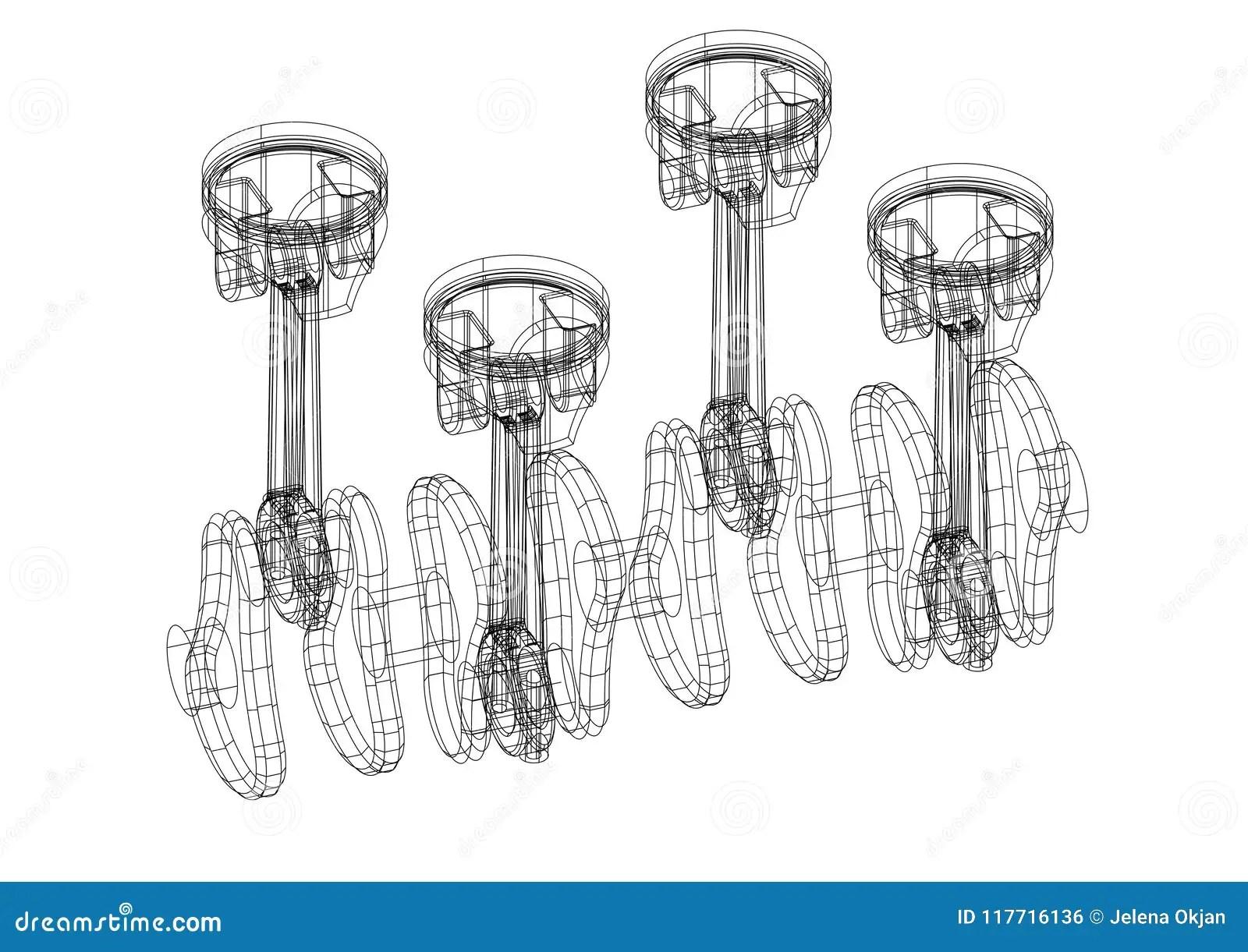 Engine Pistons Architect Blueprint