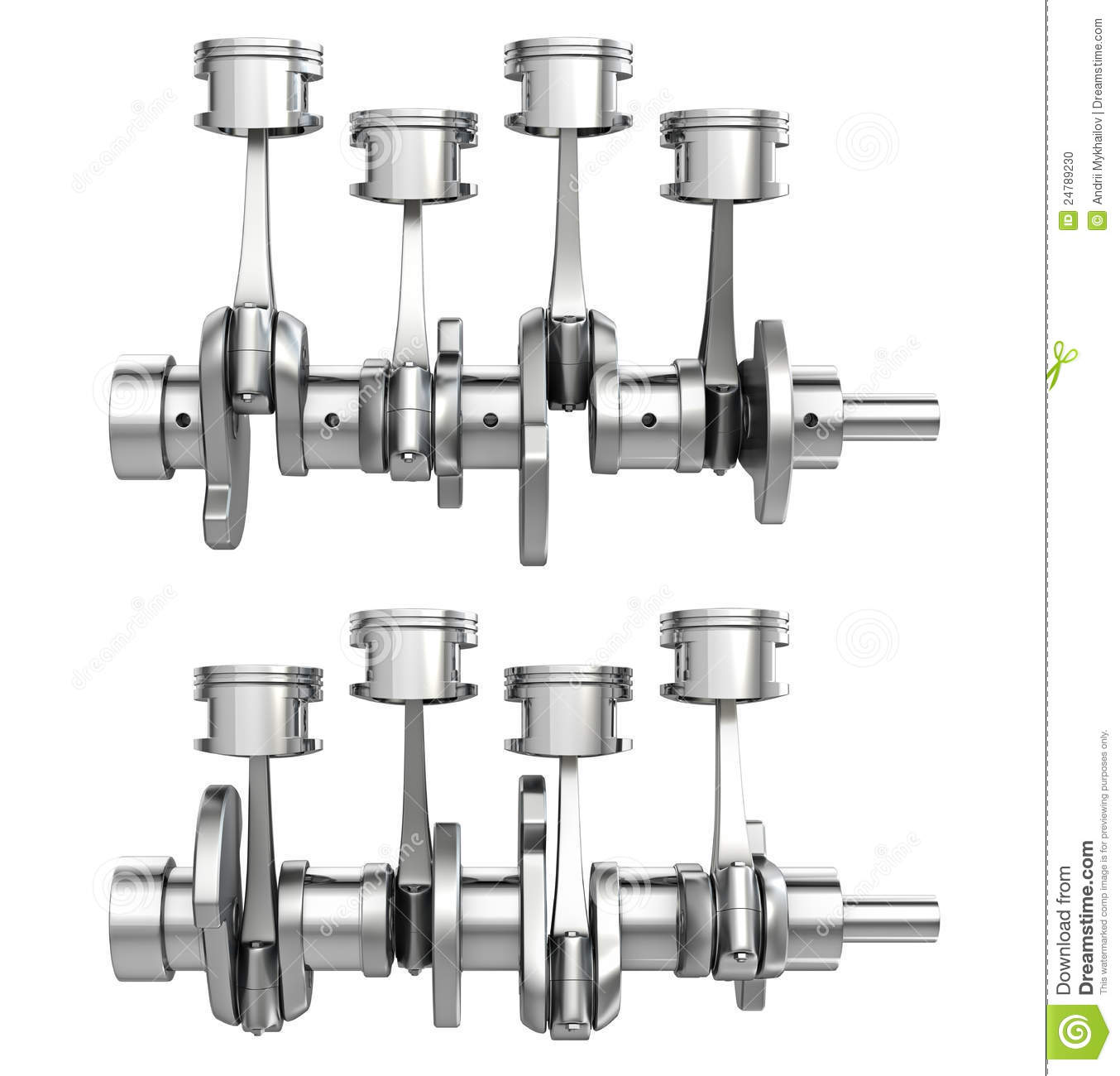 Engine Pistons On A Crankshaft Two Positions Stock