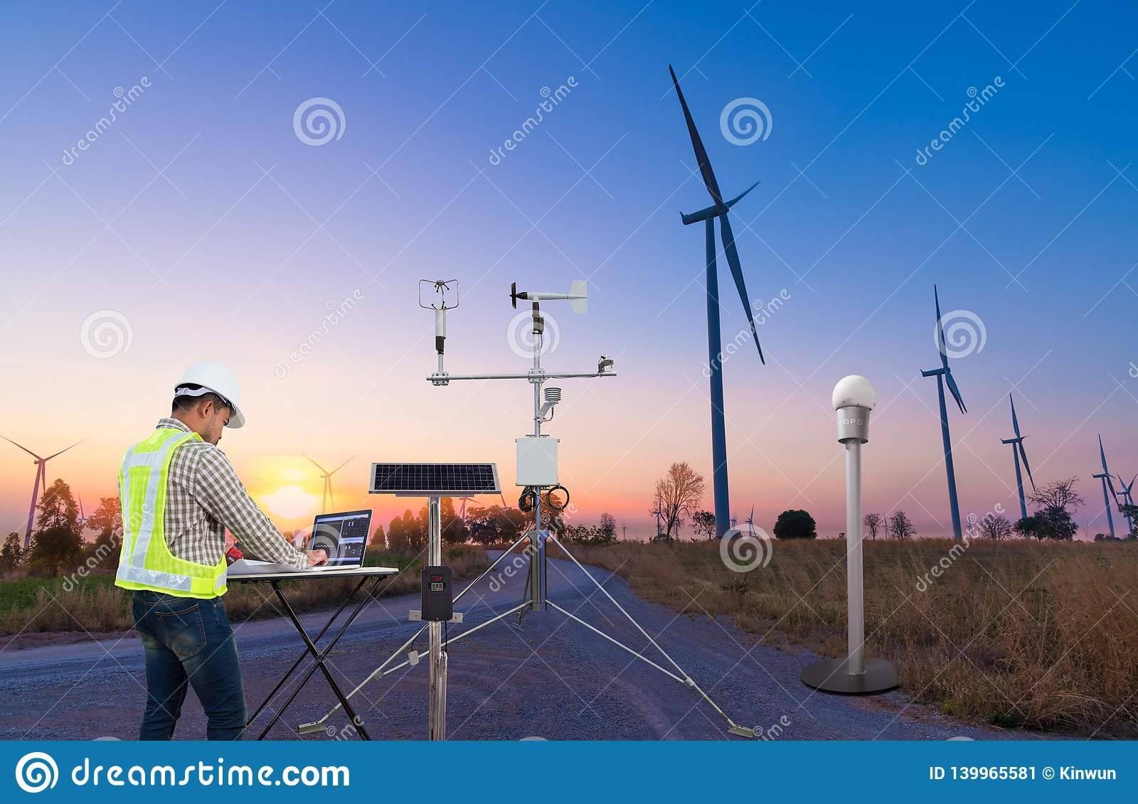 Engineer Using Laptop Computer Collect Data With