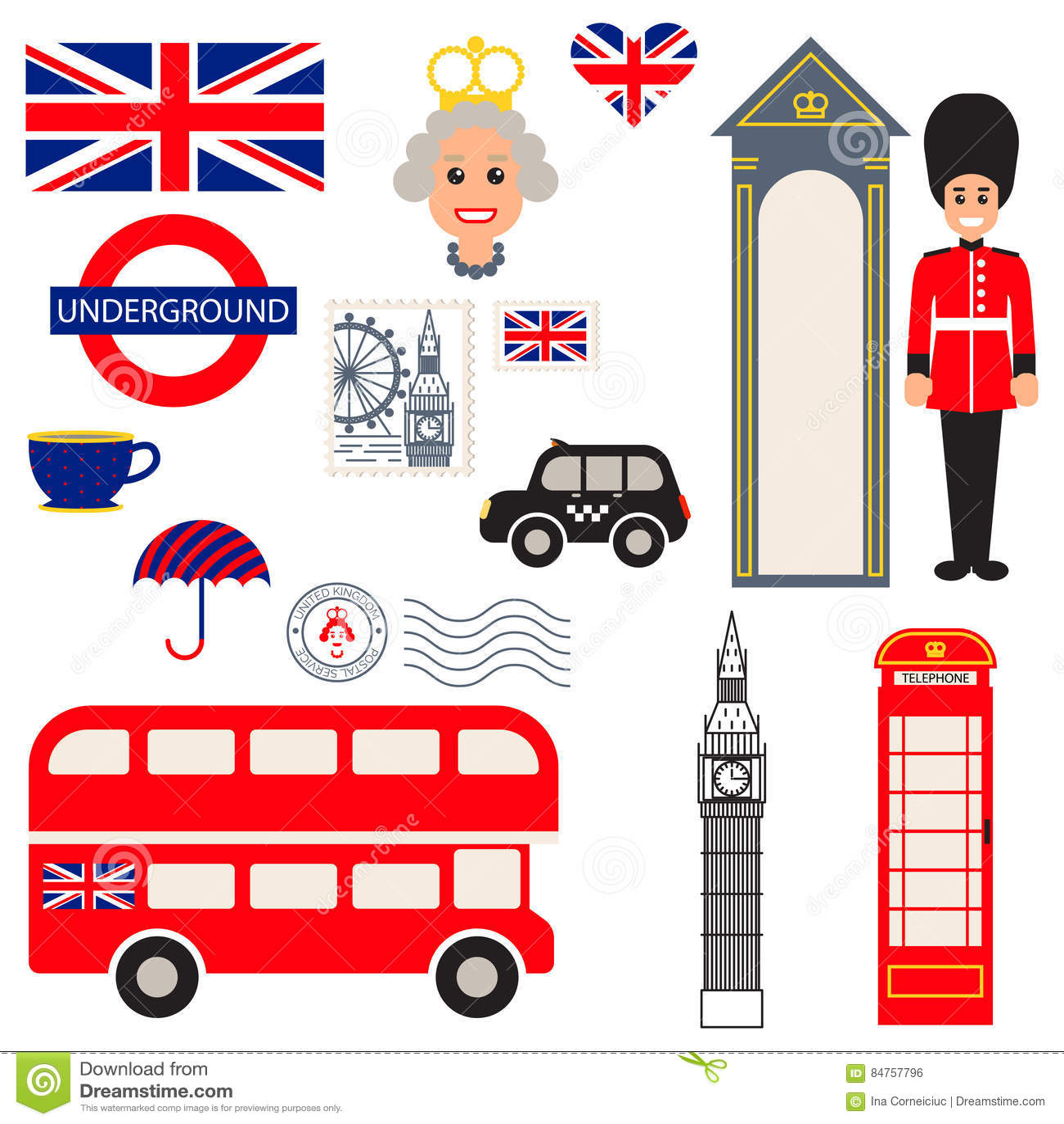 England Vector Traditional Symbols Editorial Photo