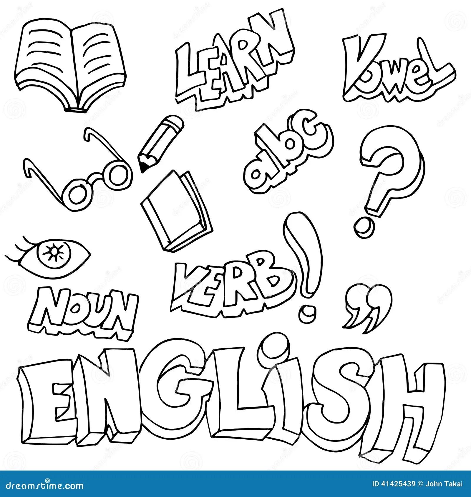 Englische Symbole Und Lernen Einzelteile Vektor Abbildung