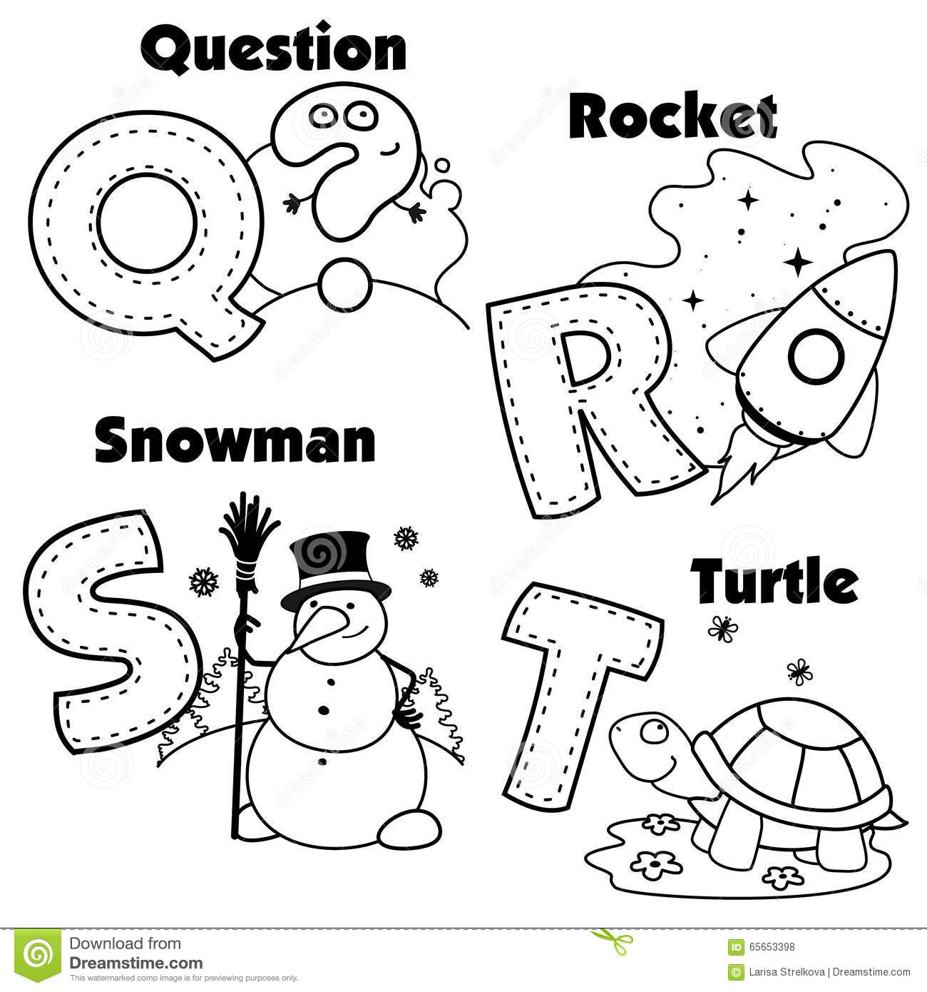 English Alphabet And The Letters Q R S And T Stock