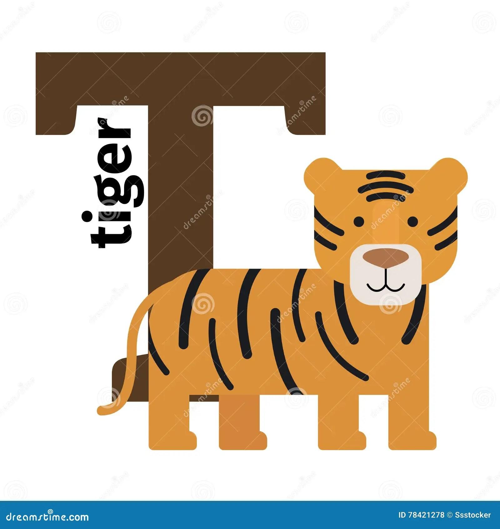 English Animals Zoo Alphabet Letter T Stock Vector