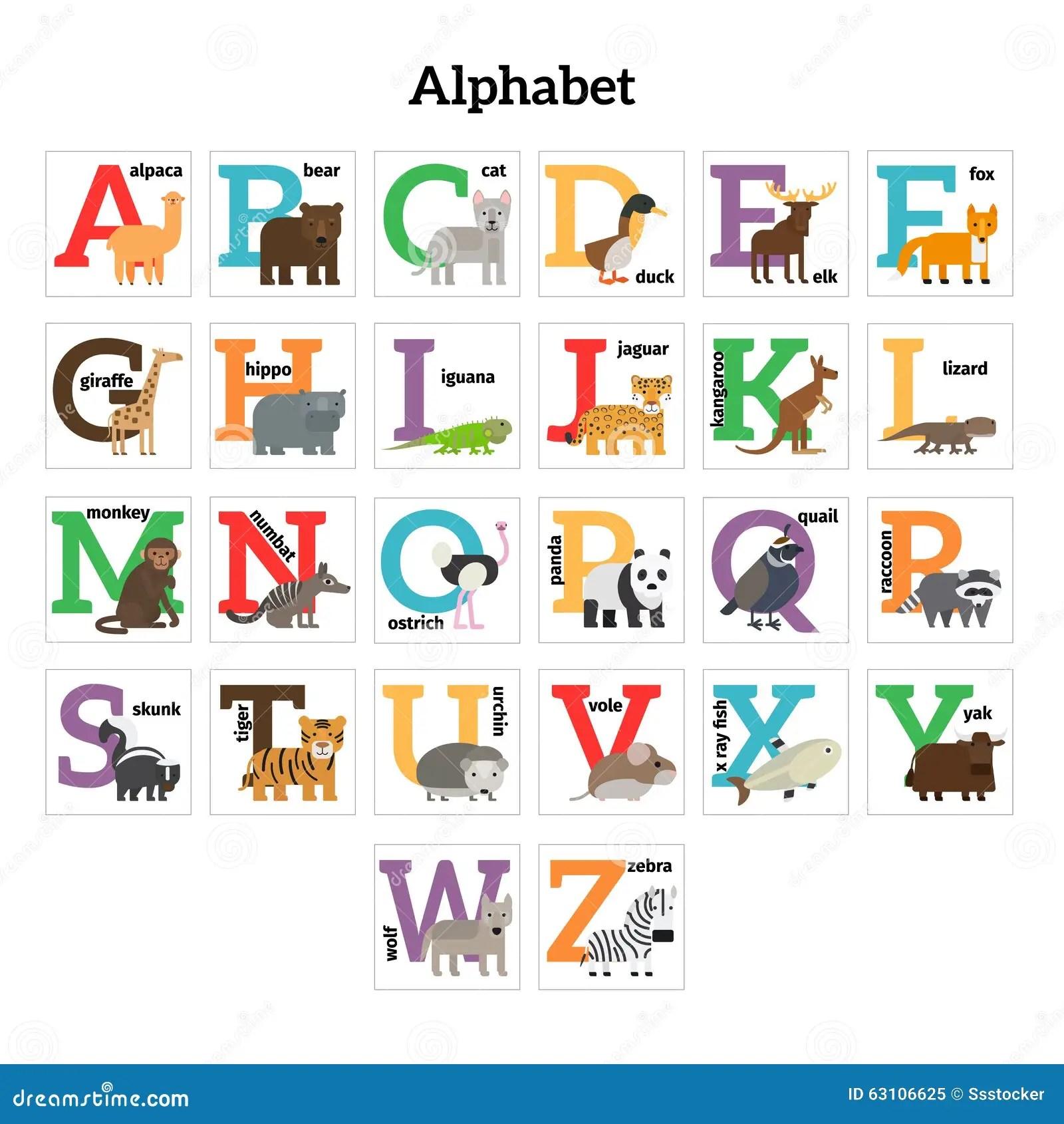 English Animals Zoo Alphabet Stock Vector