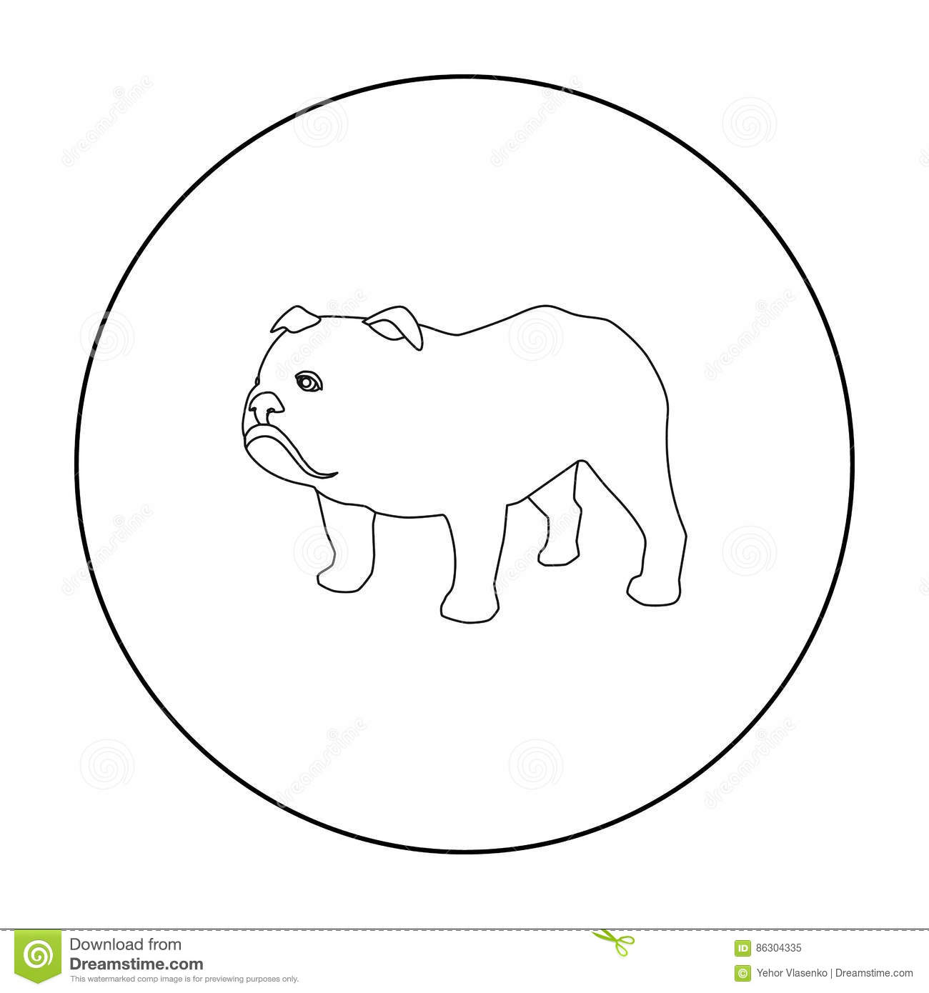 English Bulldog Icon In Outline Style Isolated On White