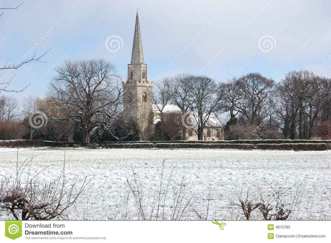 English Church In Winter Stock Image Image Of Traditional