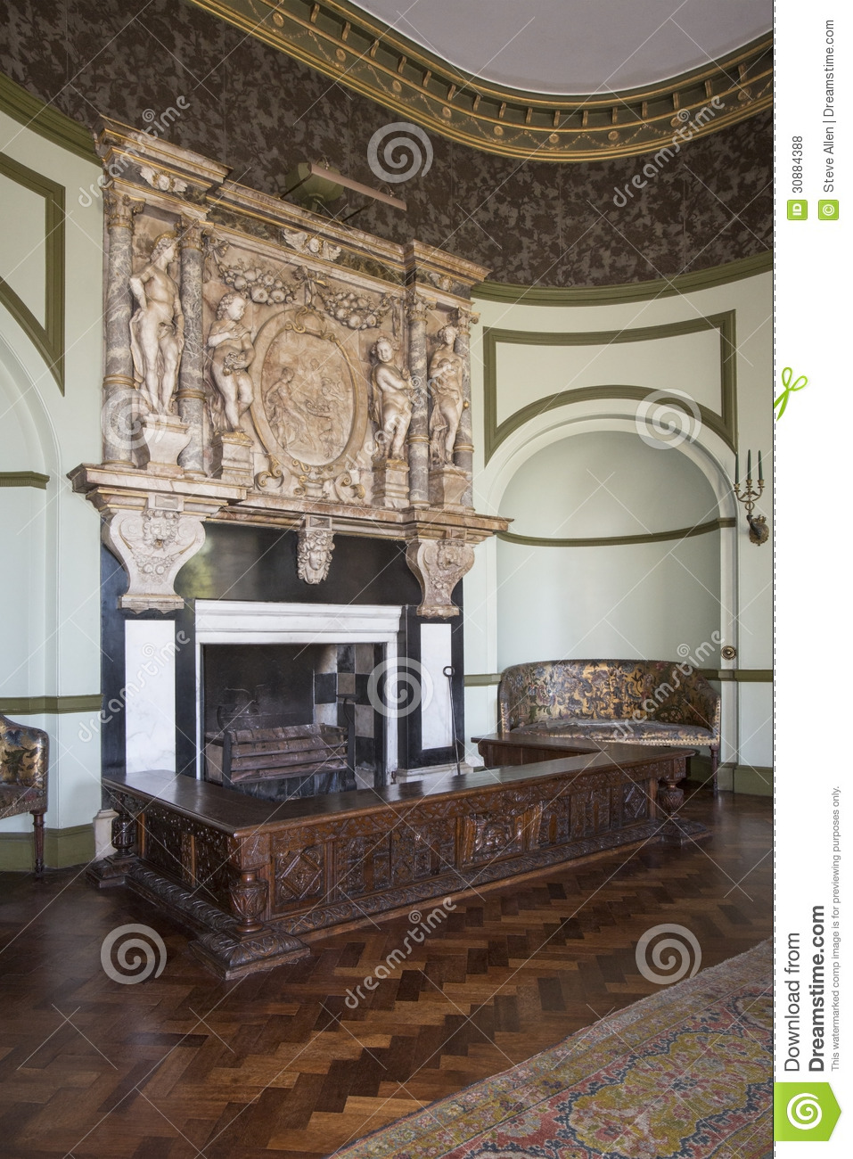 English Country Manor House Interior Editorial Stock