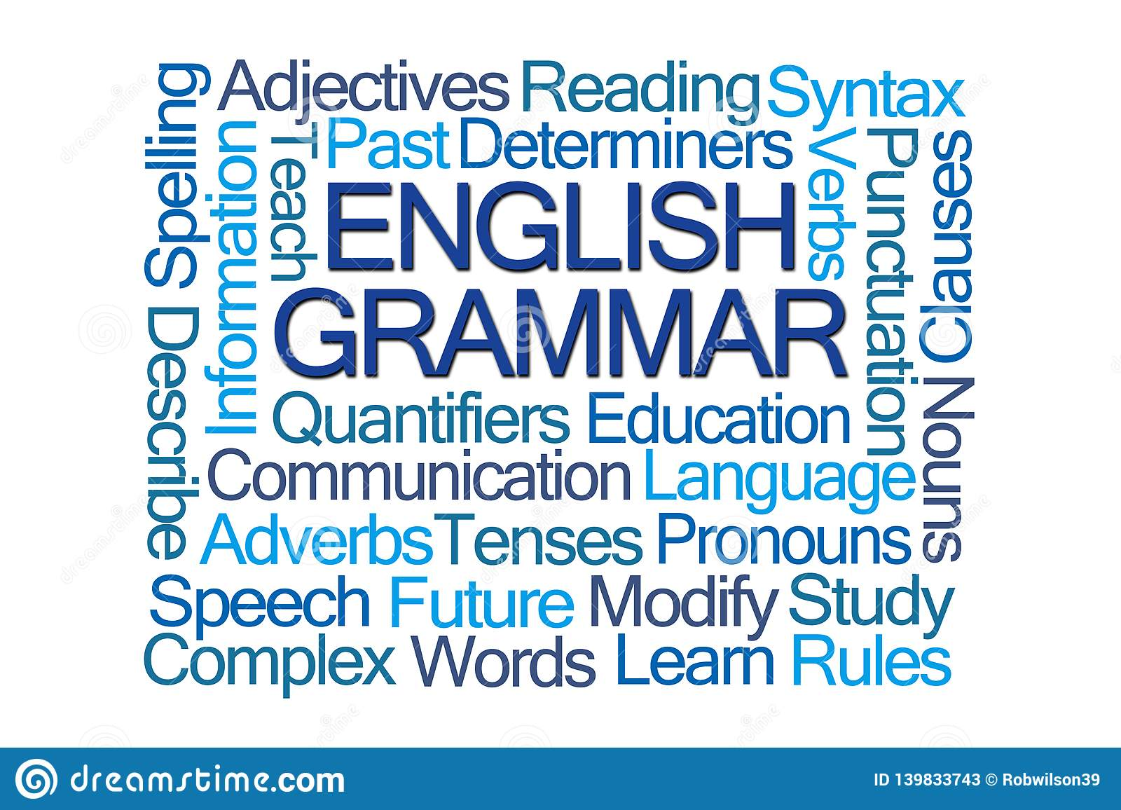 English Grammar Word Cloud Stock Illustration