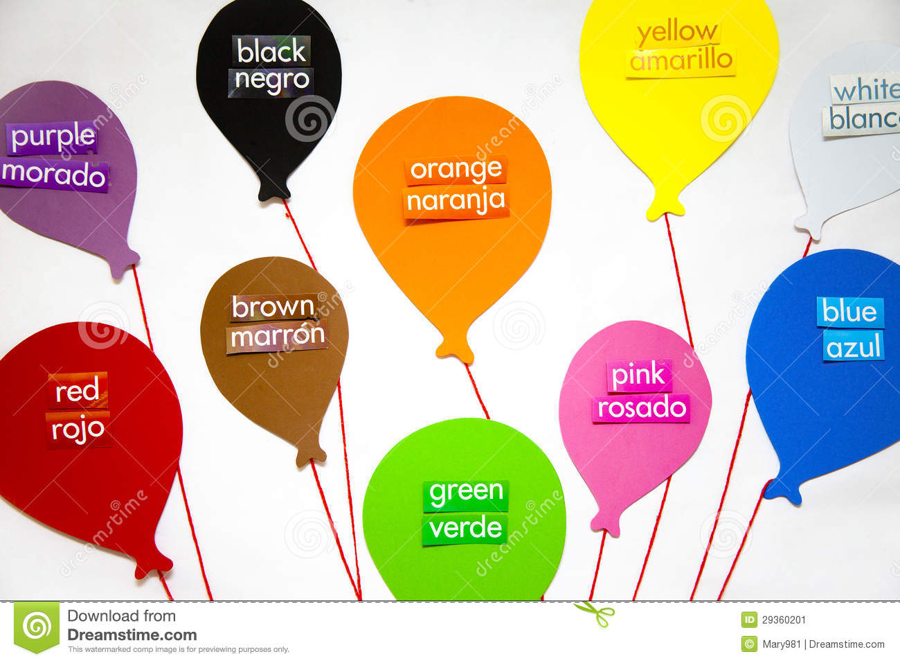 English And Spanish Colors Stock Image Image Of Balloons