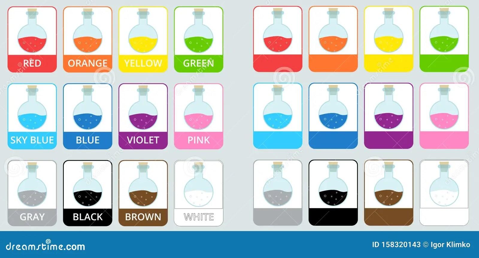 English Worksheet For Color Names Vector Illustration