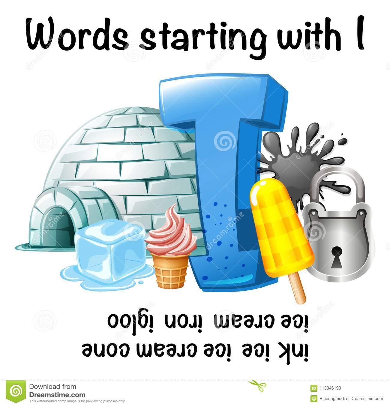 English Worksheet For Words Starting With I Stock Illustration