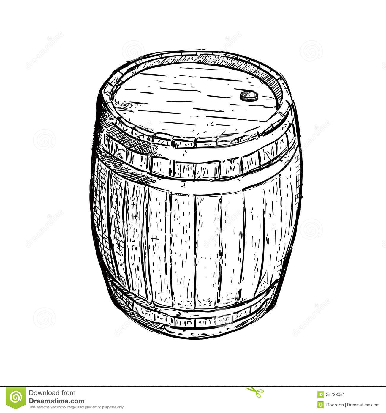 Engraving Barrel Beer Wine Stock Image