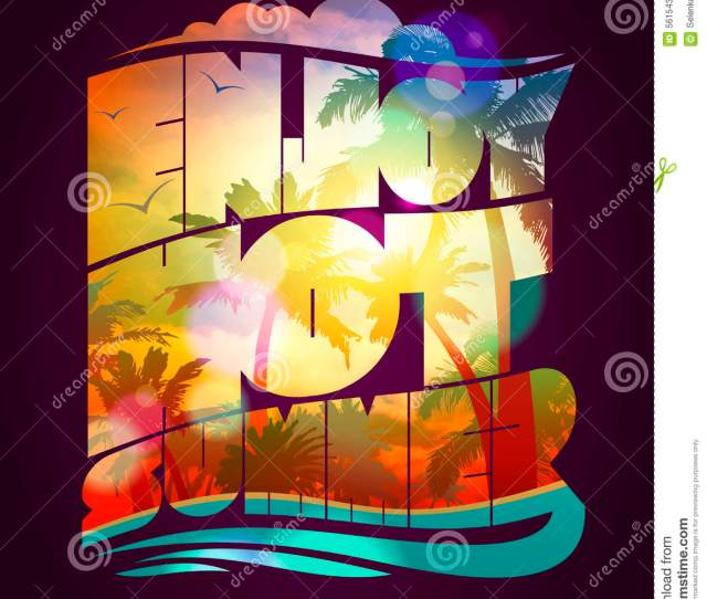 Enjoy Hot Summer Text Design Happy Vacation Card With With Sunset Tropical Backdrop Silhouette