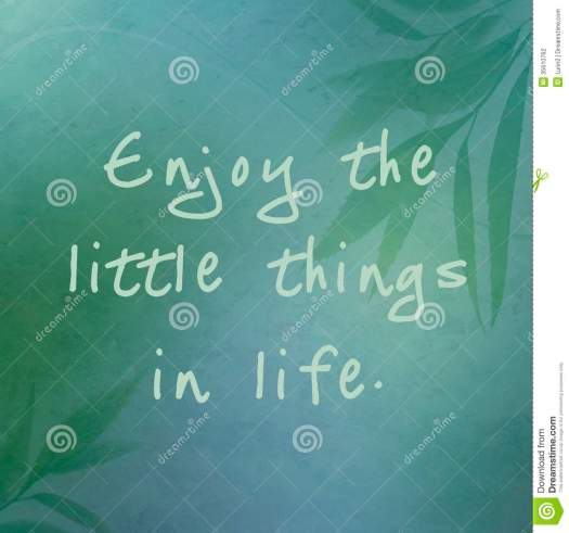 Enjoy The Little Things In Life Stock Illustration ...