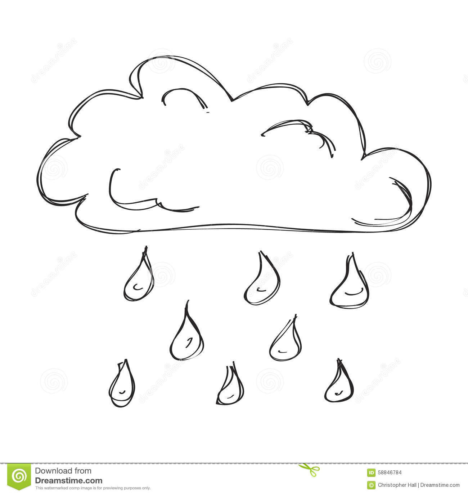 Enkelt Klotter Av Ett Moln Med Regn Vektor Illustrationer