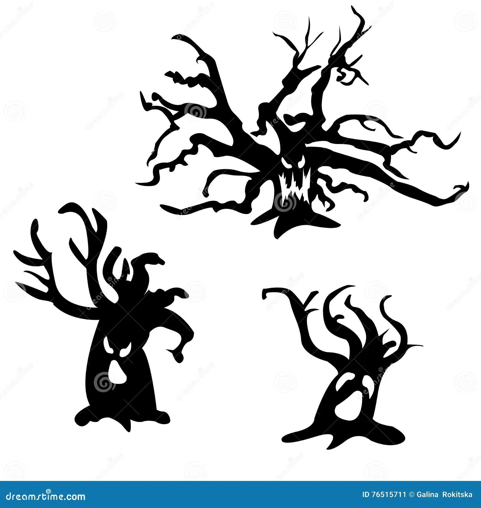 Ensemble D Arbres Effrayants De Halloween Illustration De