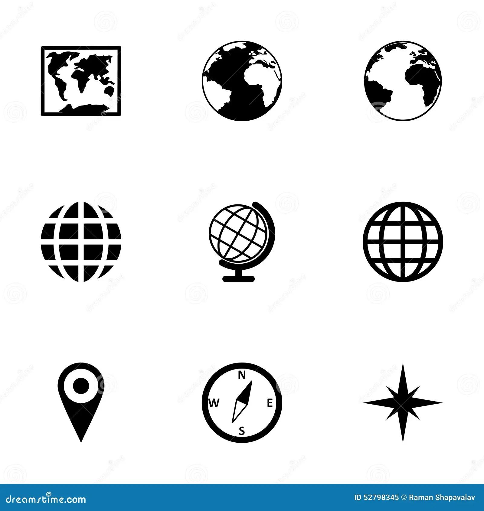 Ensemble D Icone De Carte Du Monde De Vecteur Illustration