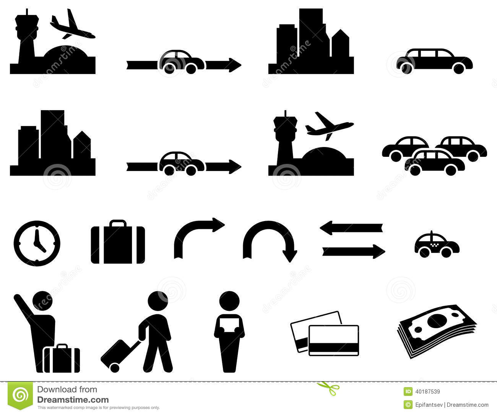 Ensemble D Icone De Transfert D Aeroport Illustration De
