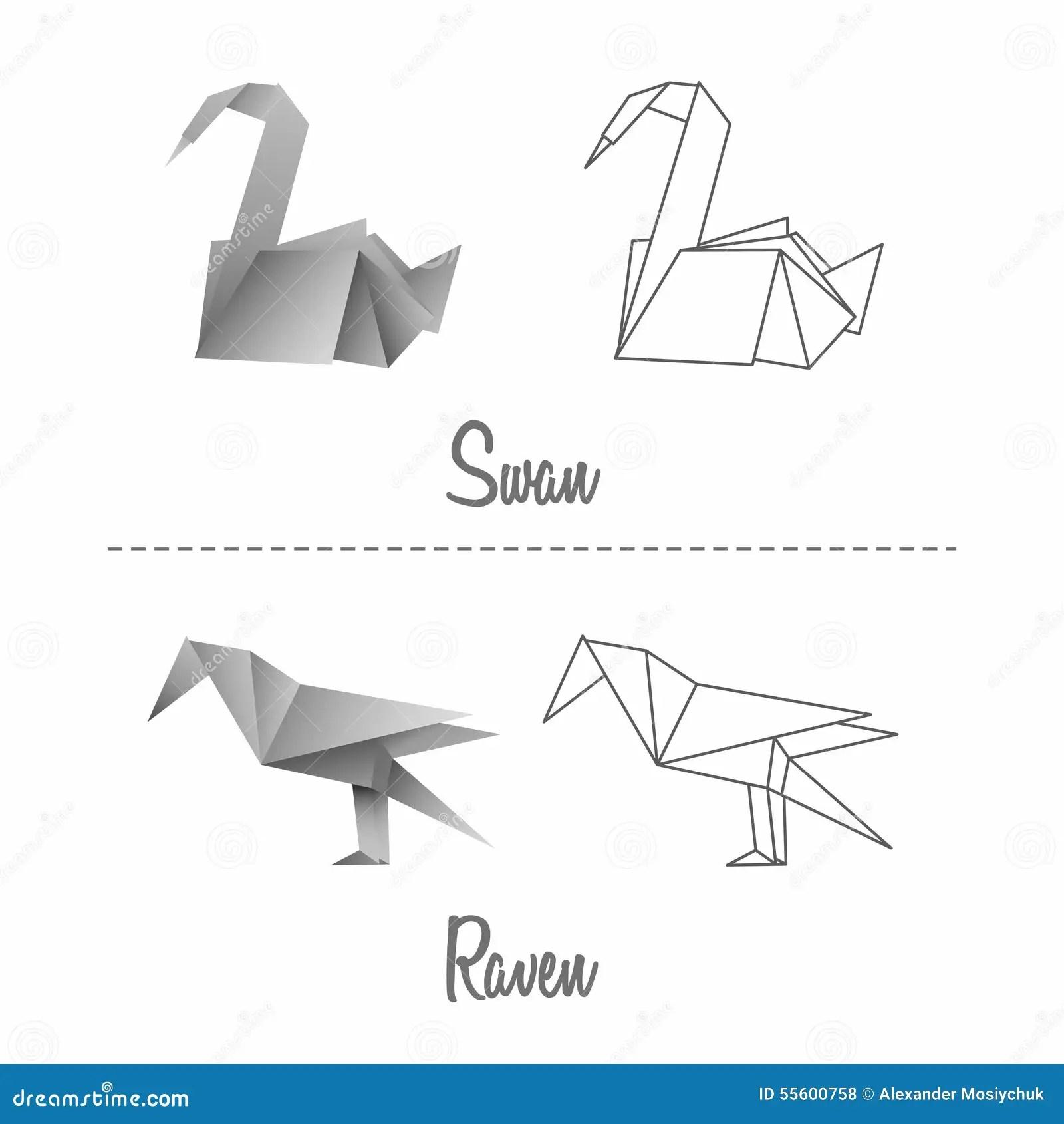 Ensemble D Oiseaux D Origami De Papier Japonais De Vecteur