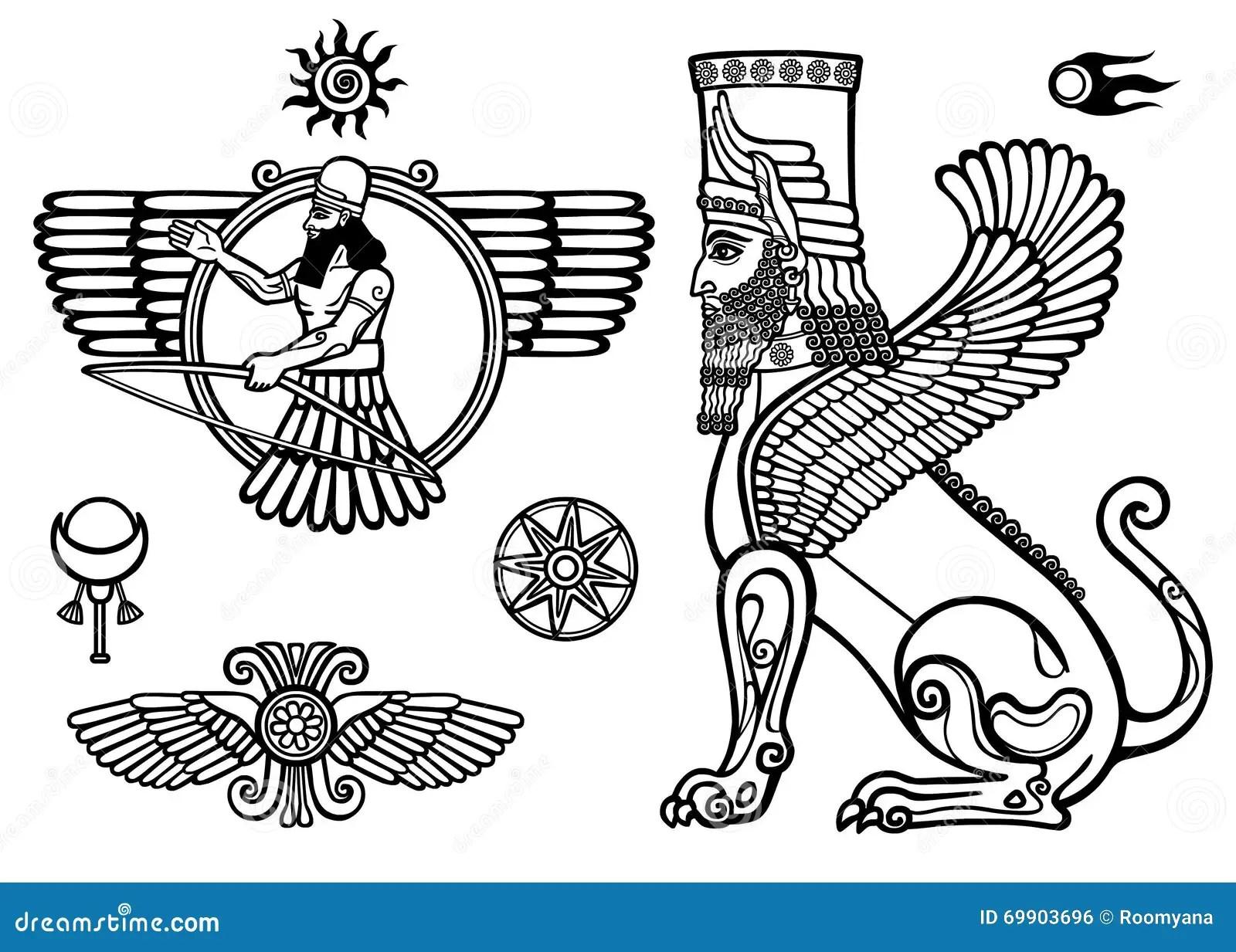 Ensemble De Chiffres De La Mythologie Assyrienne Sphinx