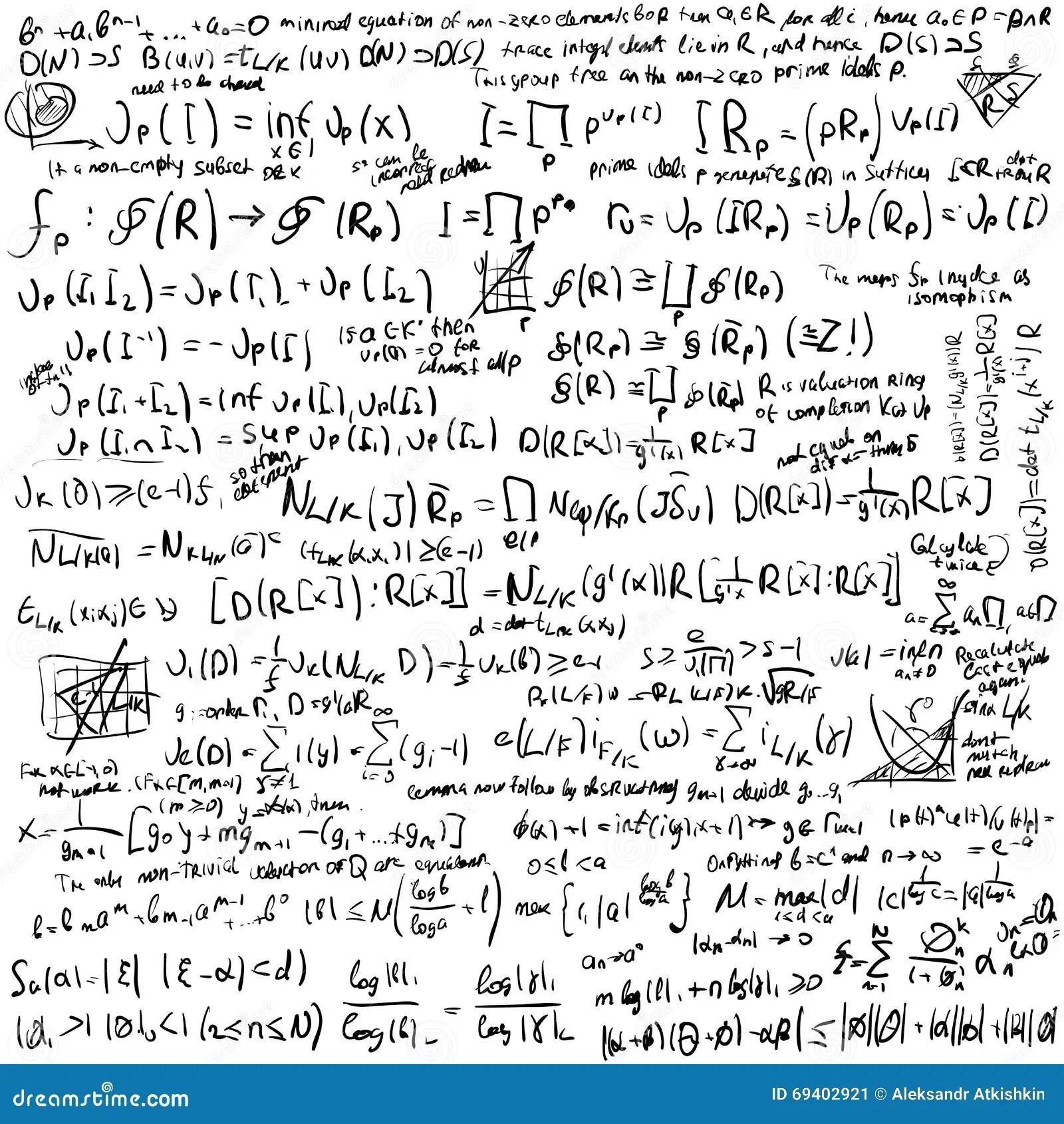 Ensemble De Formule De Maths Illustration De Vecteur