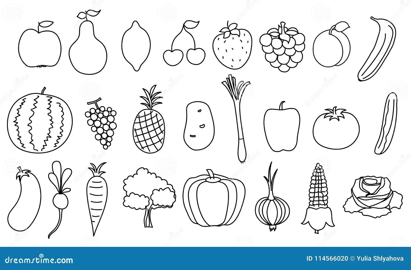 Ensemble De Fruits Et Legumes Simples De Dessin
