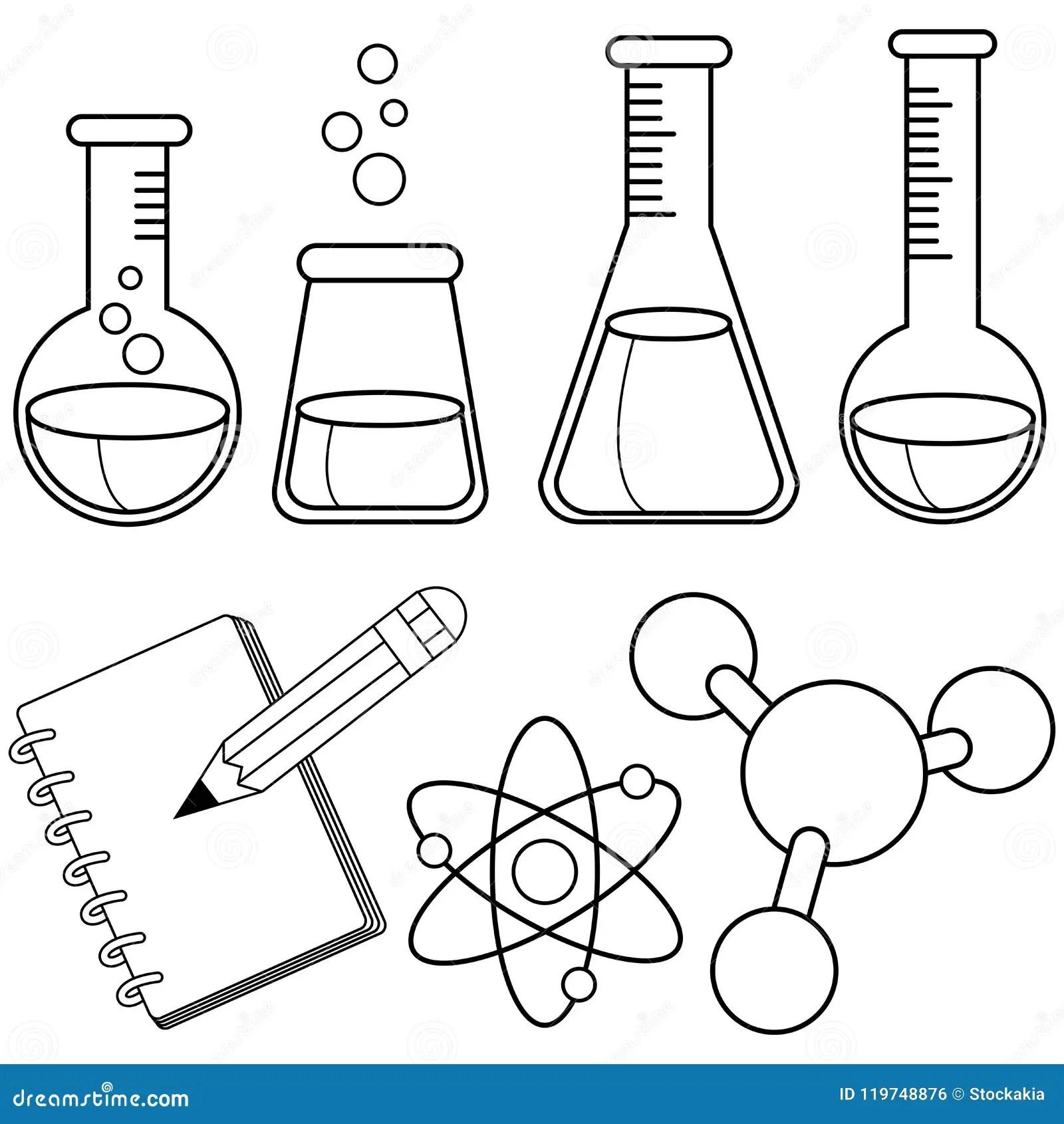 Ensemble De La Science Et De Chimie Page Noire Et Blanche