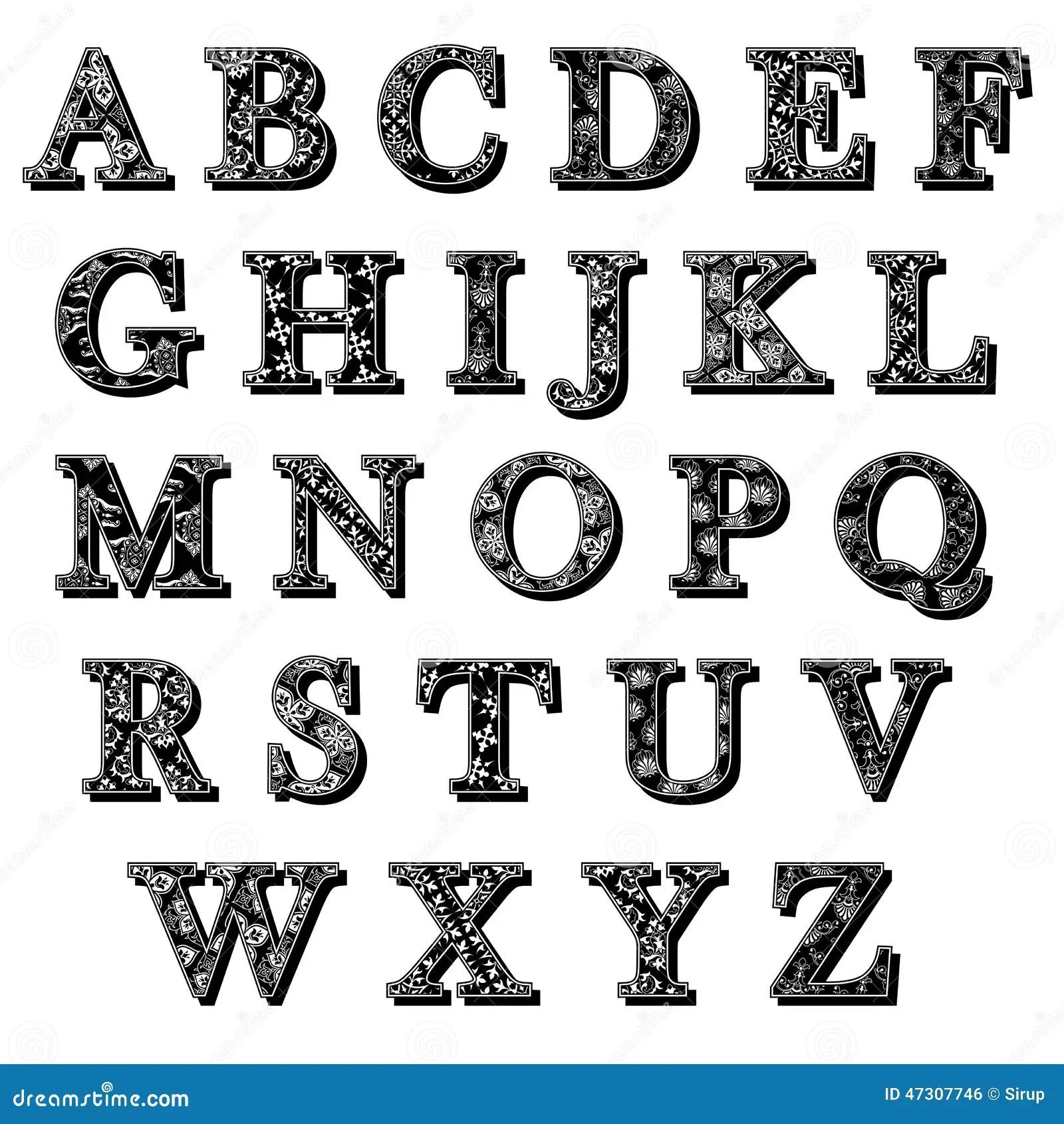 Ensemble De Lettres D Alphabet D Antiqua D Abc Avec Le