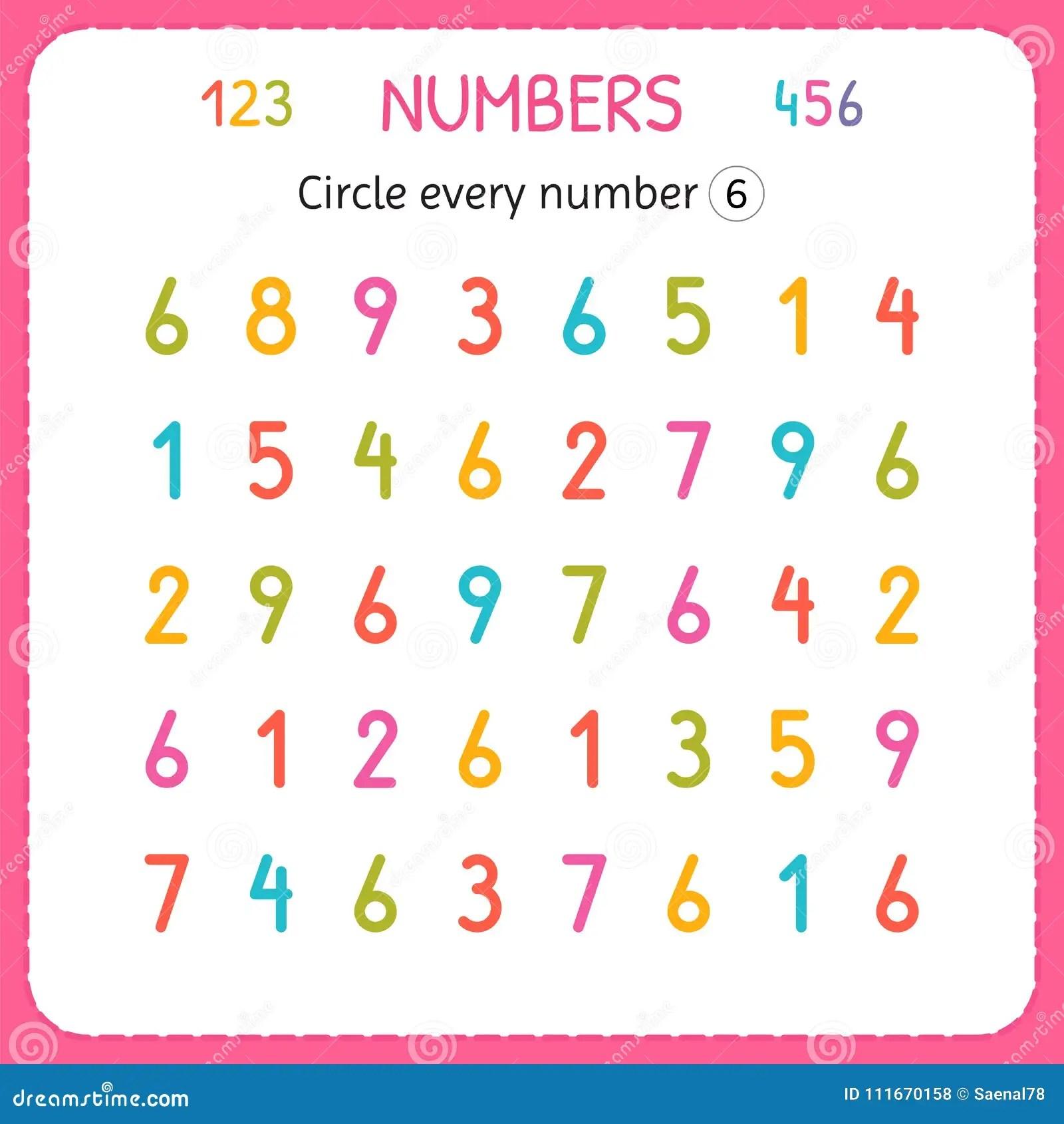 Entourez Chaque Numero Six Nombres Pour Des Enfants Fiche De Travail Pour Le Jardin D Enfants Et