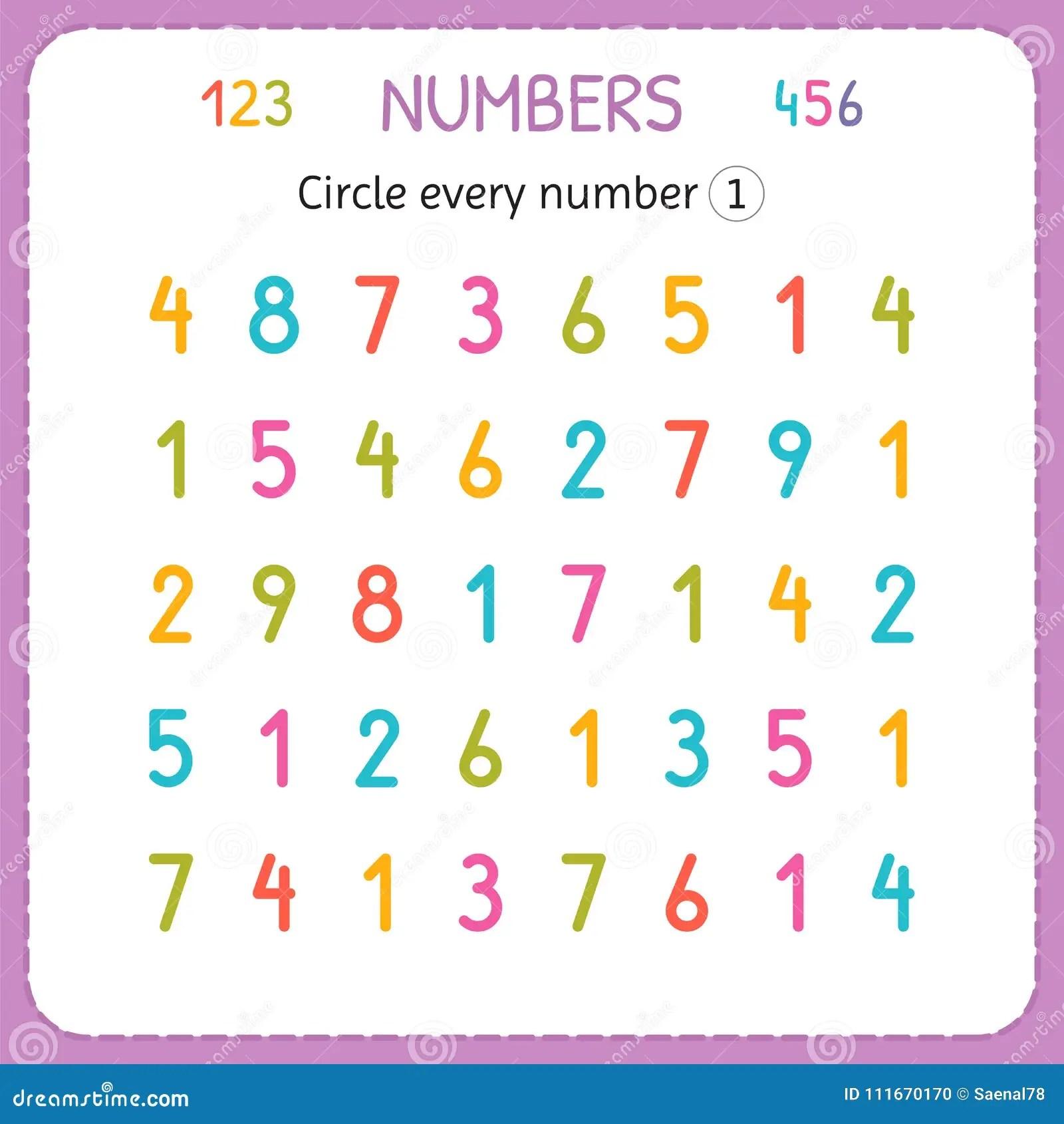 Entourez Chaque Numero Un Nombres Pour Des Enfants Fiche