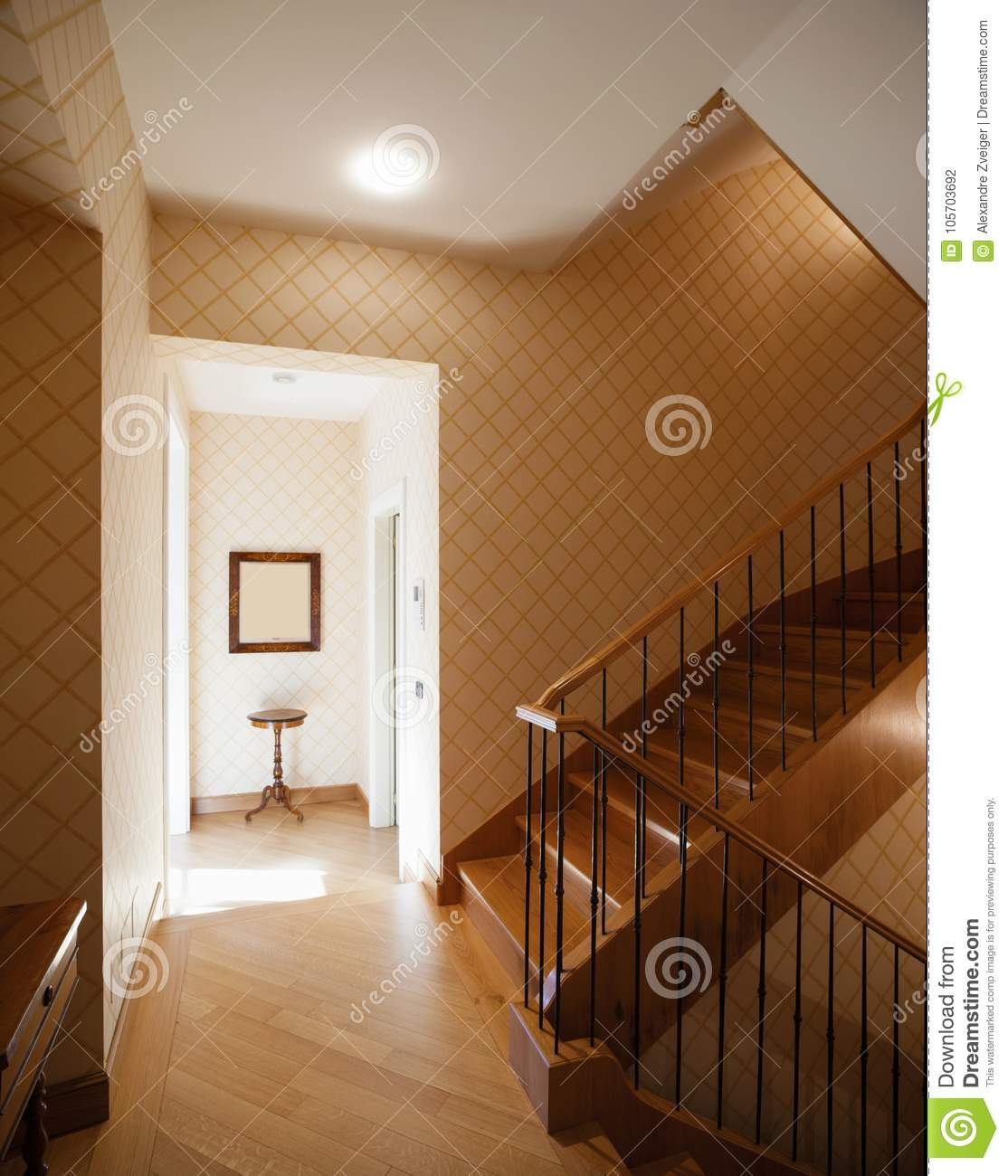 Entrance With Large Wooden Staircase Stock Photo Image Of Frame | Staircase For Small House | Internal | Popular | Tiny House | Concrete | Diy