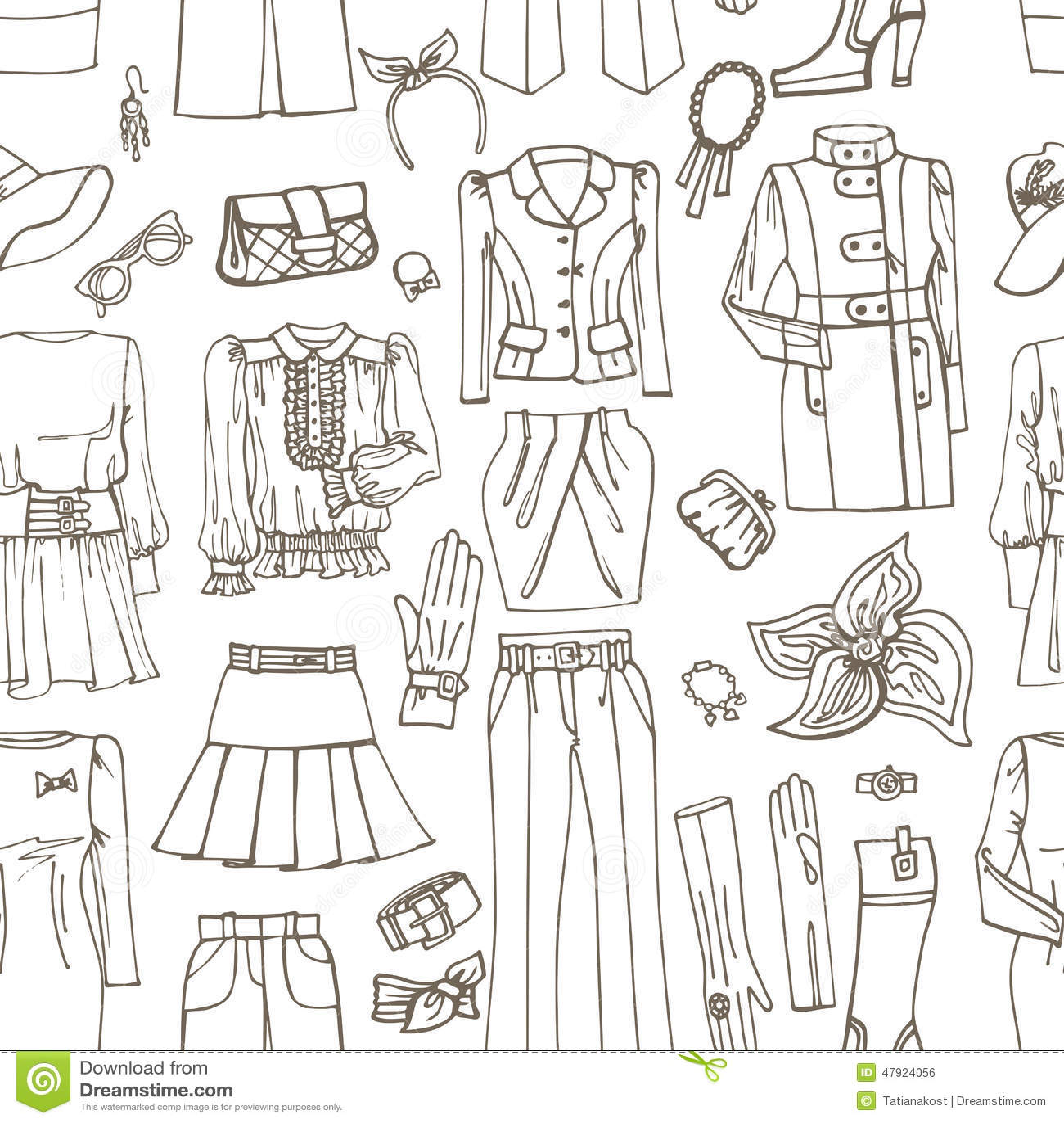 Entwurfs Skizze Frauen Kleidung Zubehor Vektor Abbildung