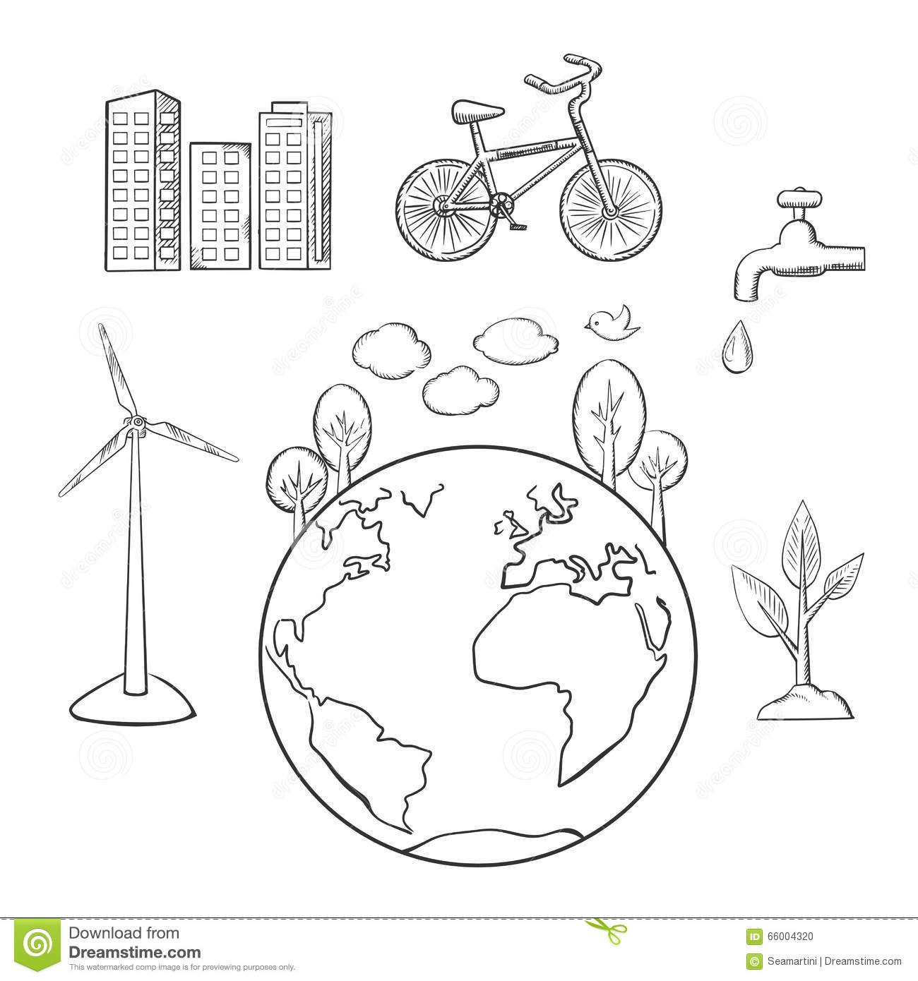 Environment Green Energy And Ecology Sketches Stock