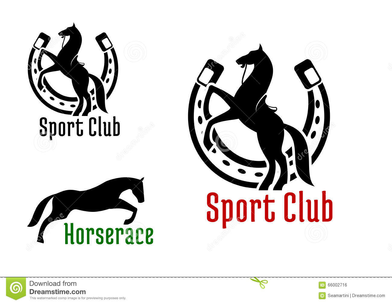 Equestrian Club Or Horse Race Sport Icons Stock Vector