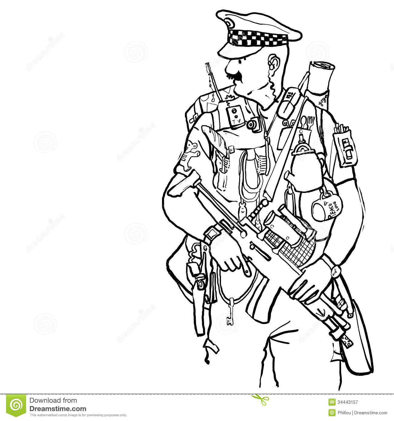 Equipped Policeman Royalty Free Stock Photography