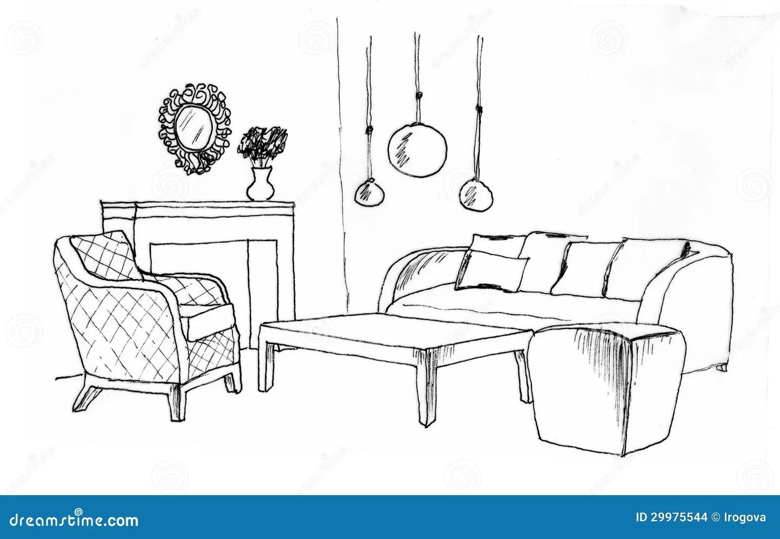 Esboco Grafico De Uma Sala De Visitas Interior Ilustracao Stock