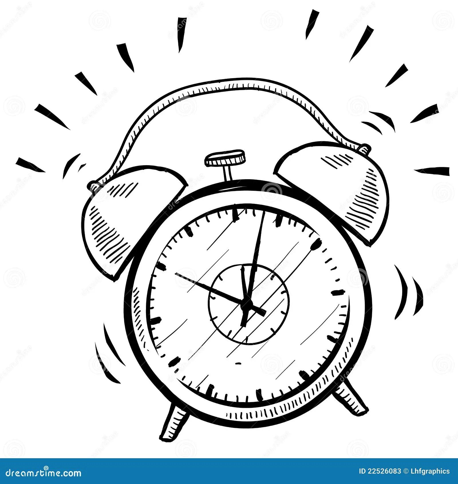 Esboco Retro Do Despertador Ilustracao Do Vetor