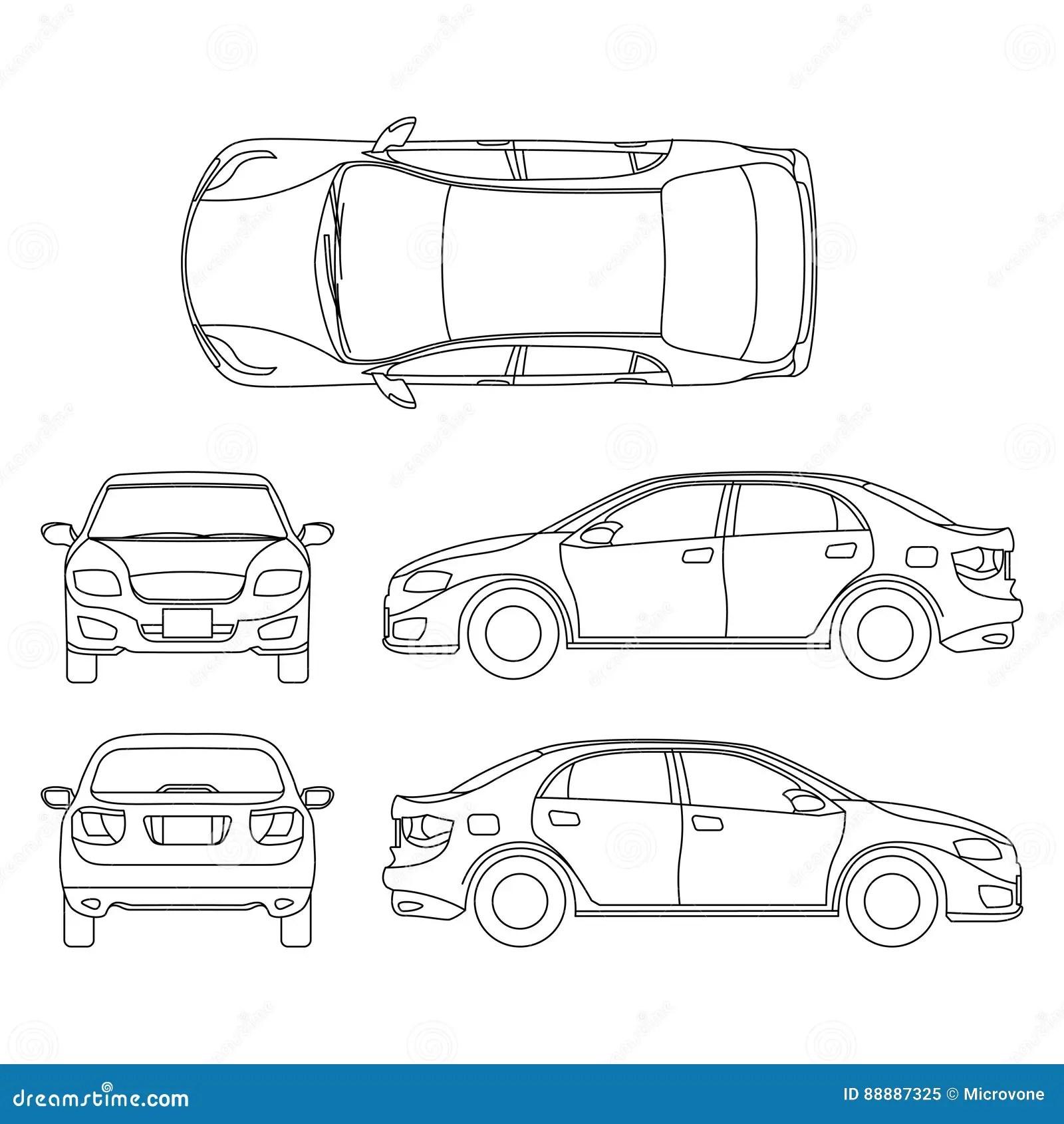 Esboce O Desenho Do Vetor Do Carro Do Sedan No Ponto De