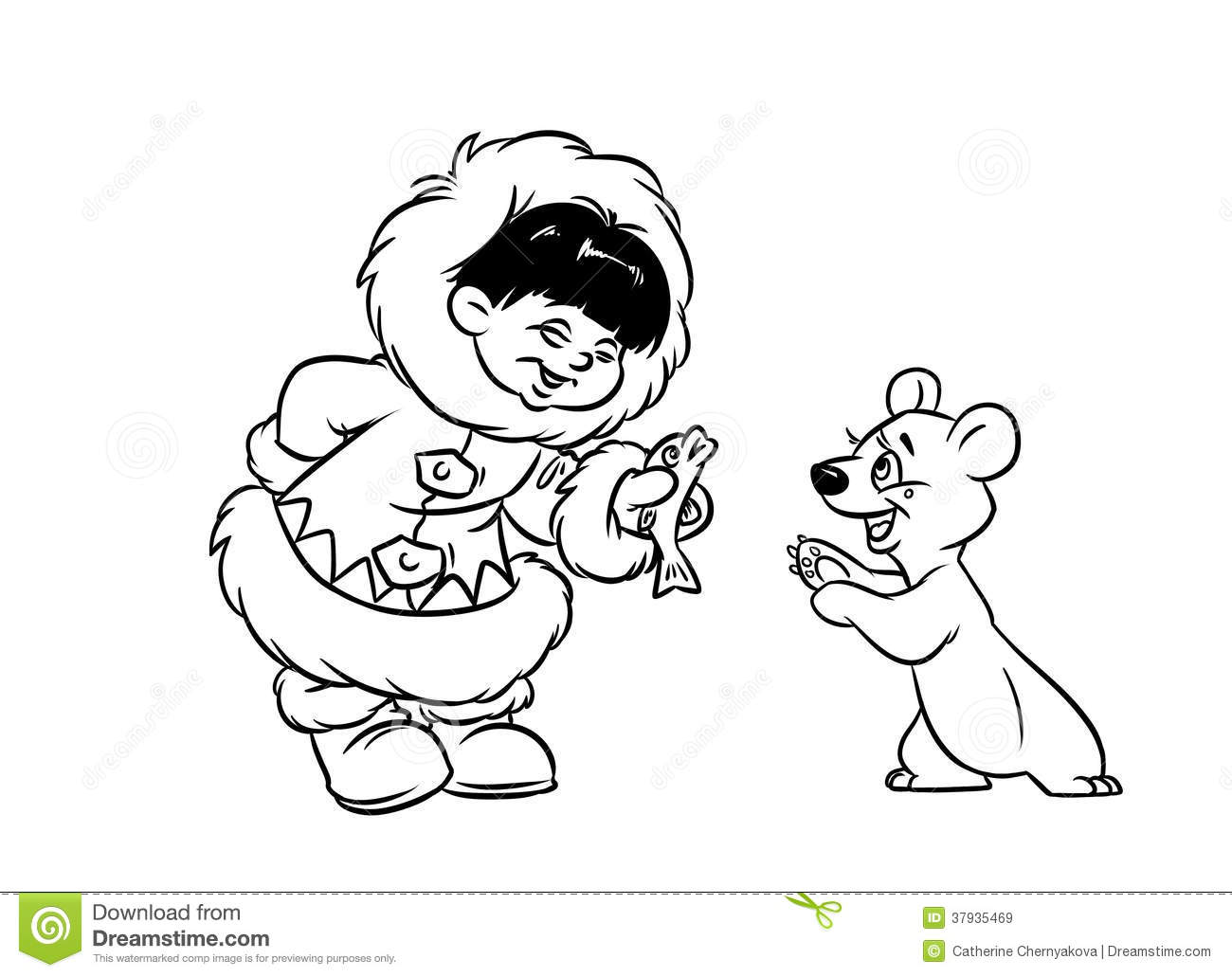 Eskimo Boy Gives Fish Little Polar Bear Stock Illustration